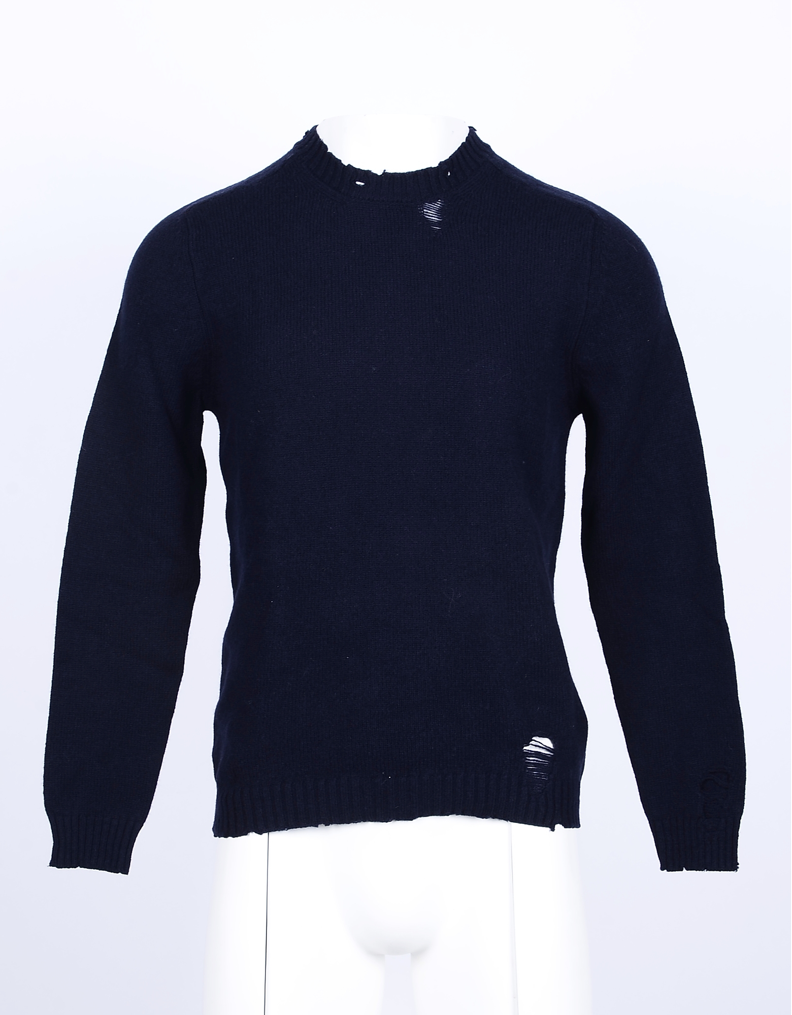 Aglini Designer Knitwear, Blue Distressed Wool and Cashmere Men's Sweater