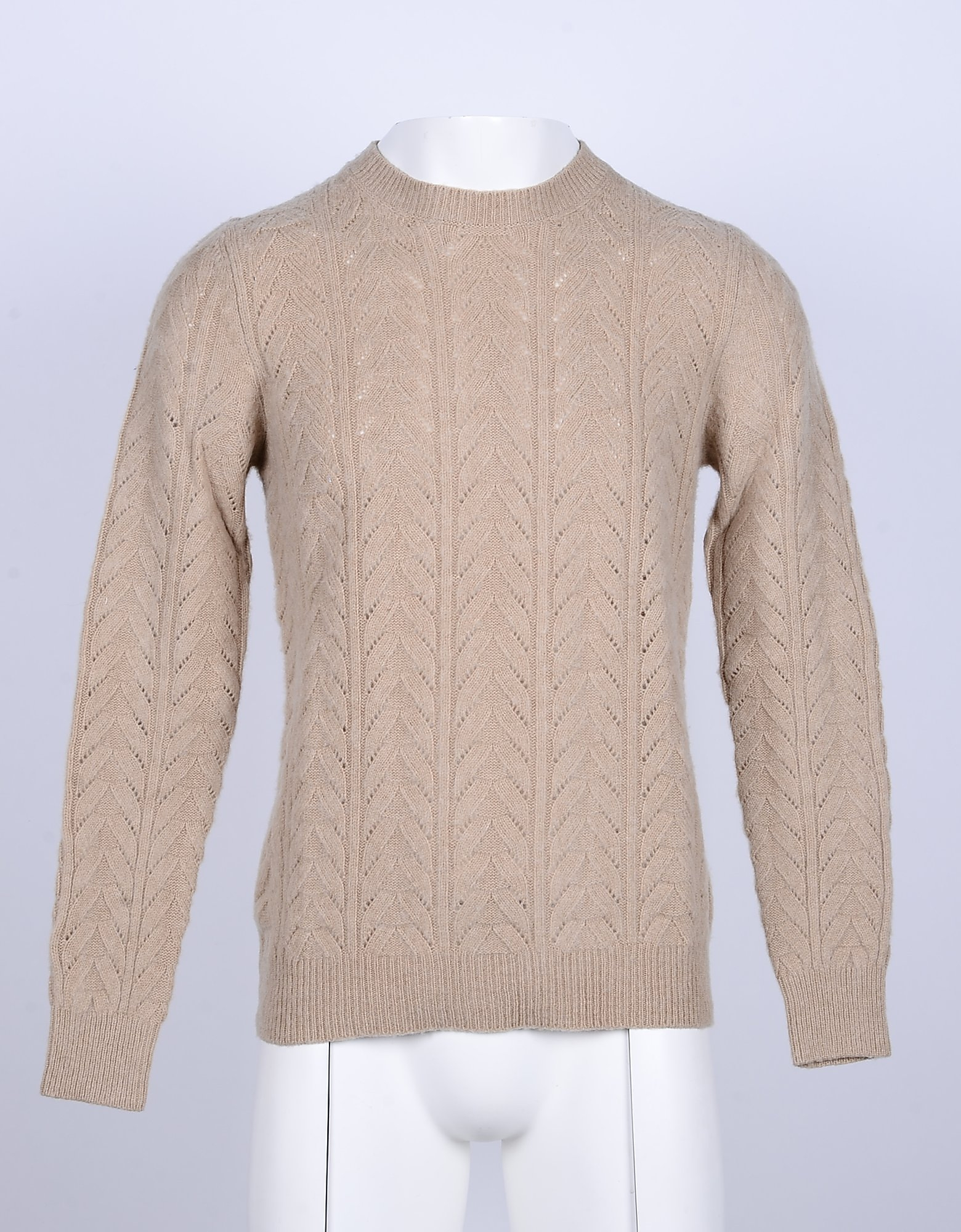 Aglini Designer Knitwear, Camel Cable Knit Wool and Cashmere Men's Sweater