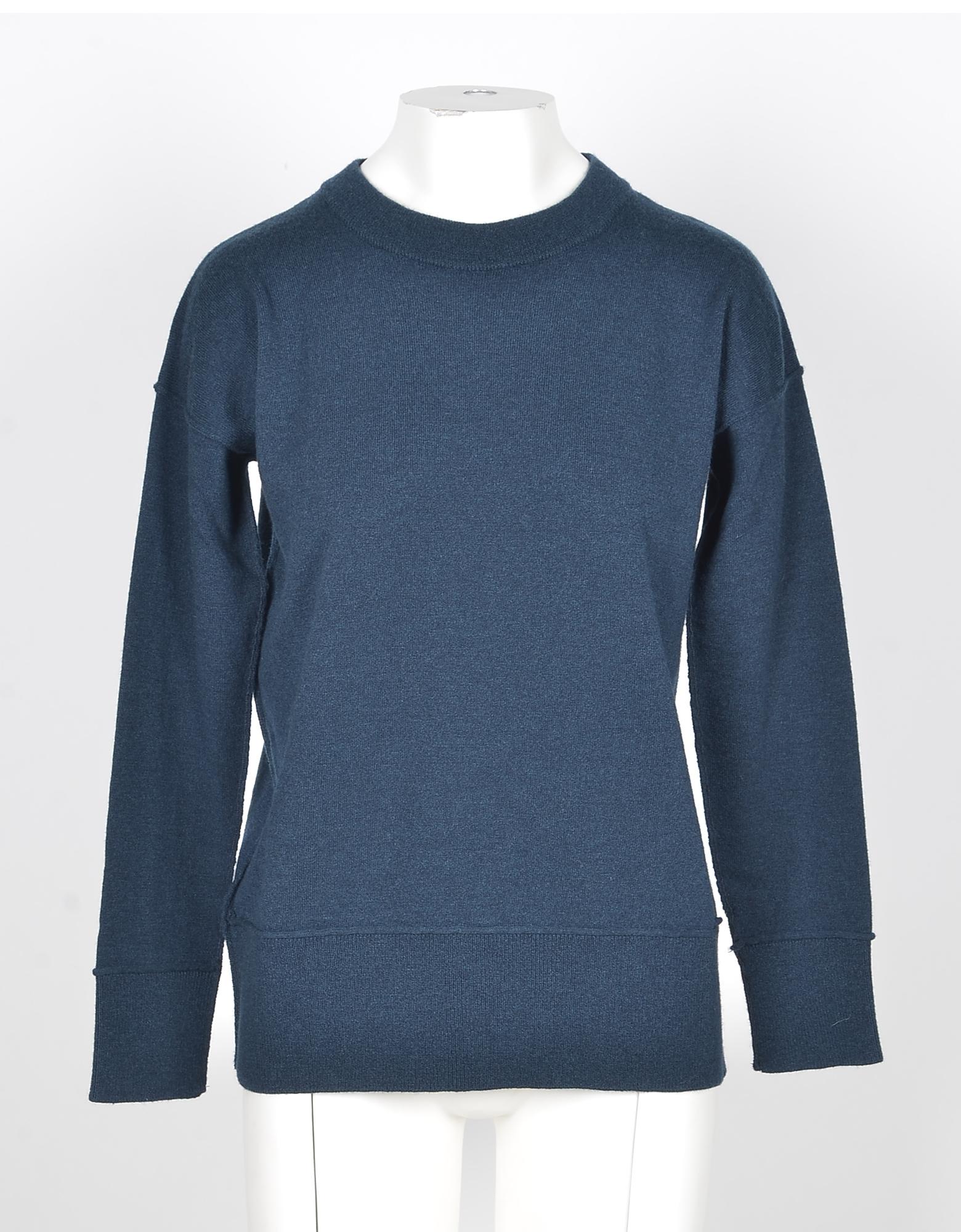 Alpha Studio Designer Knitwear, Blue Wool and Cashmere Women's Sweater'