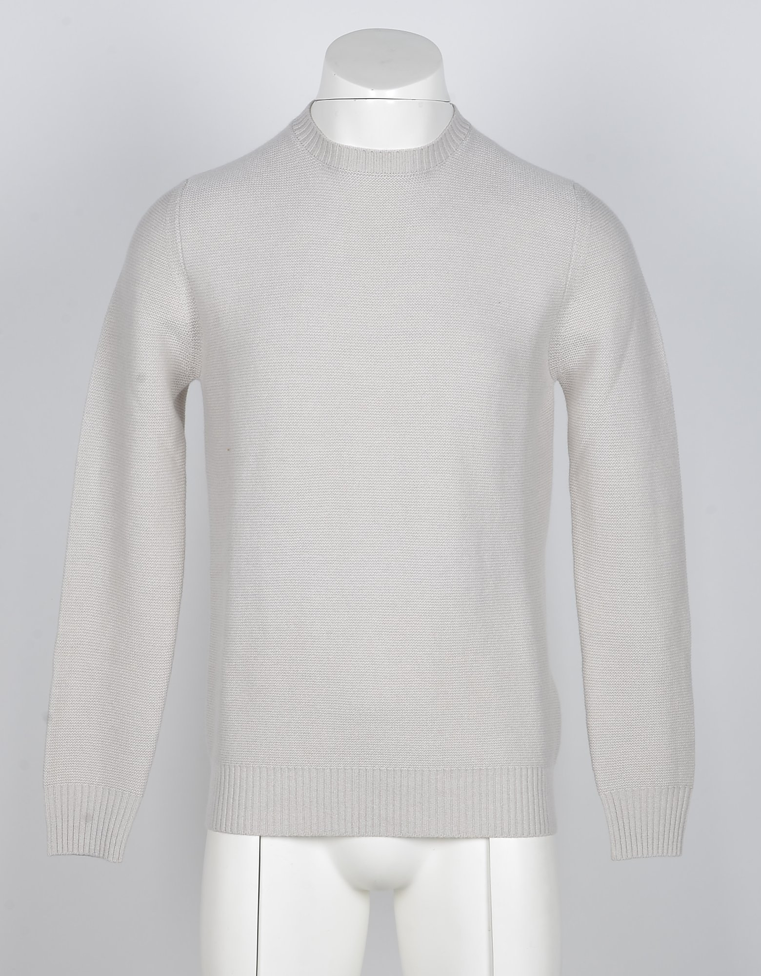 Alpha Studio Designer Knitwear, Beige Wool and Cashmere Men's Sweater
