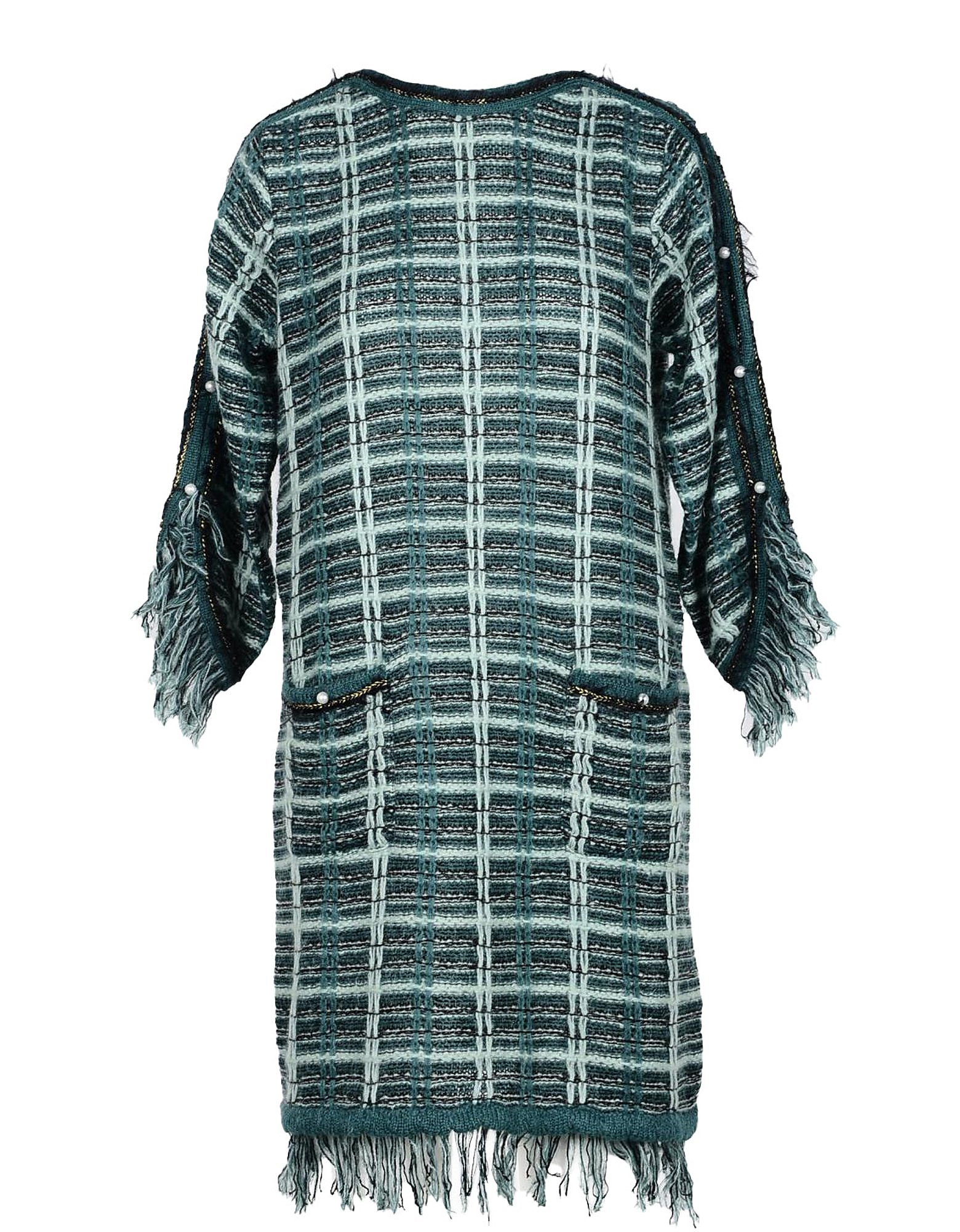 Annarita N Designer Dresses & Jumpsuits, Green Mohair Wool Blend Women's Dress
