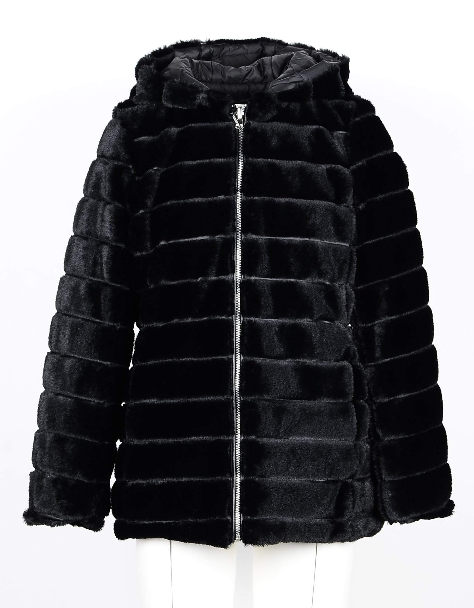 Annarita N Designer Coats & Jackets, Black Eco-Fur Women's Quilted Jacket