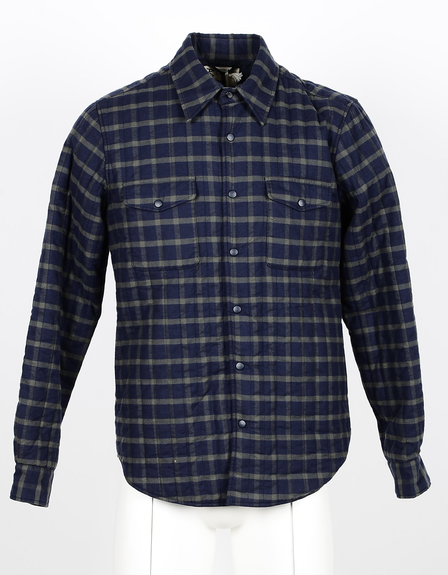 Aspesi Designer Shirts, Blue/Green Checked Cotton Men's Shirt