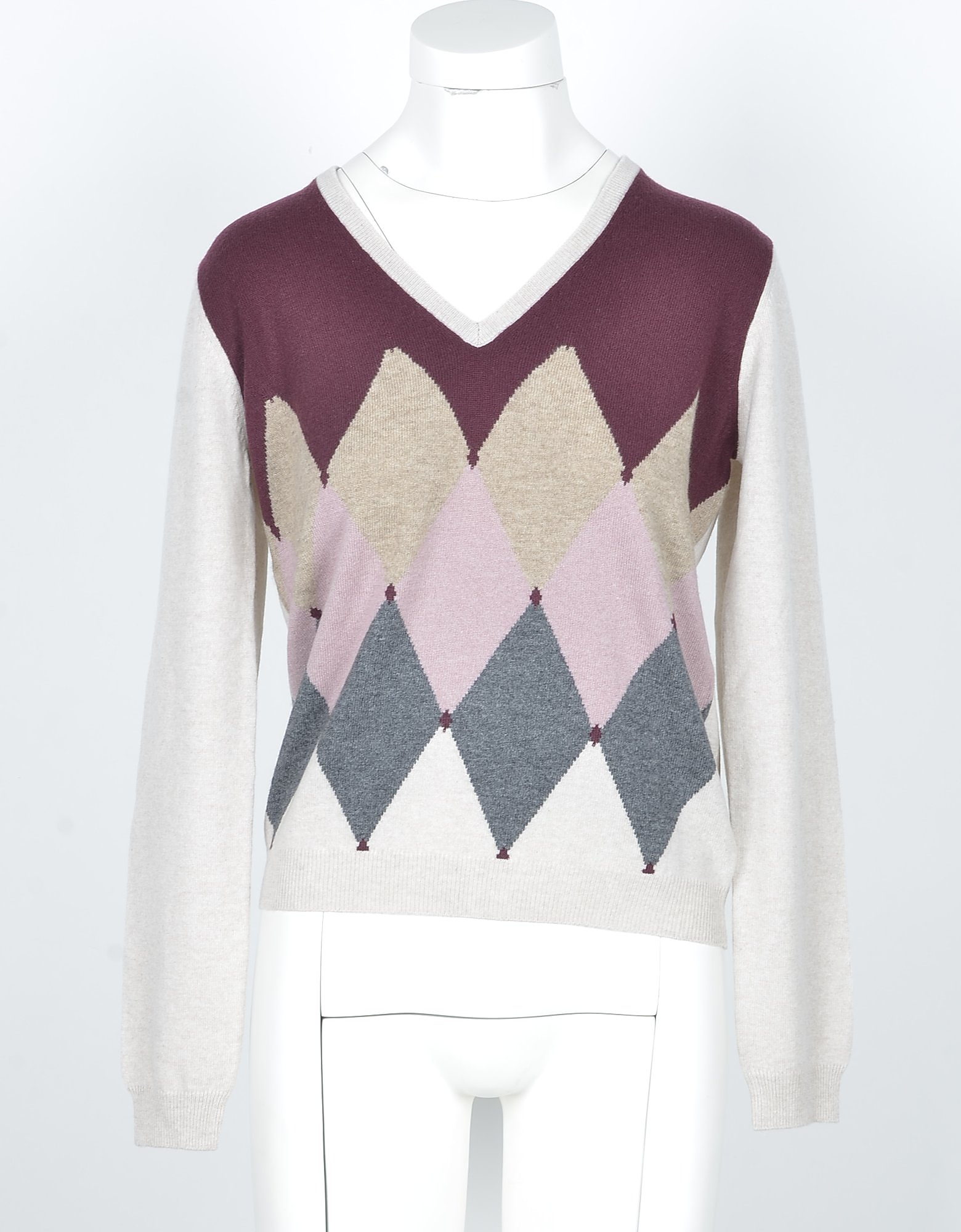 Ballantyne Designer Knitwear, Beige & Bordeaux Cashmere Women's V-neck Sweater w/Argyle Inlay