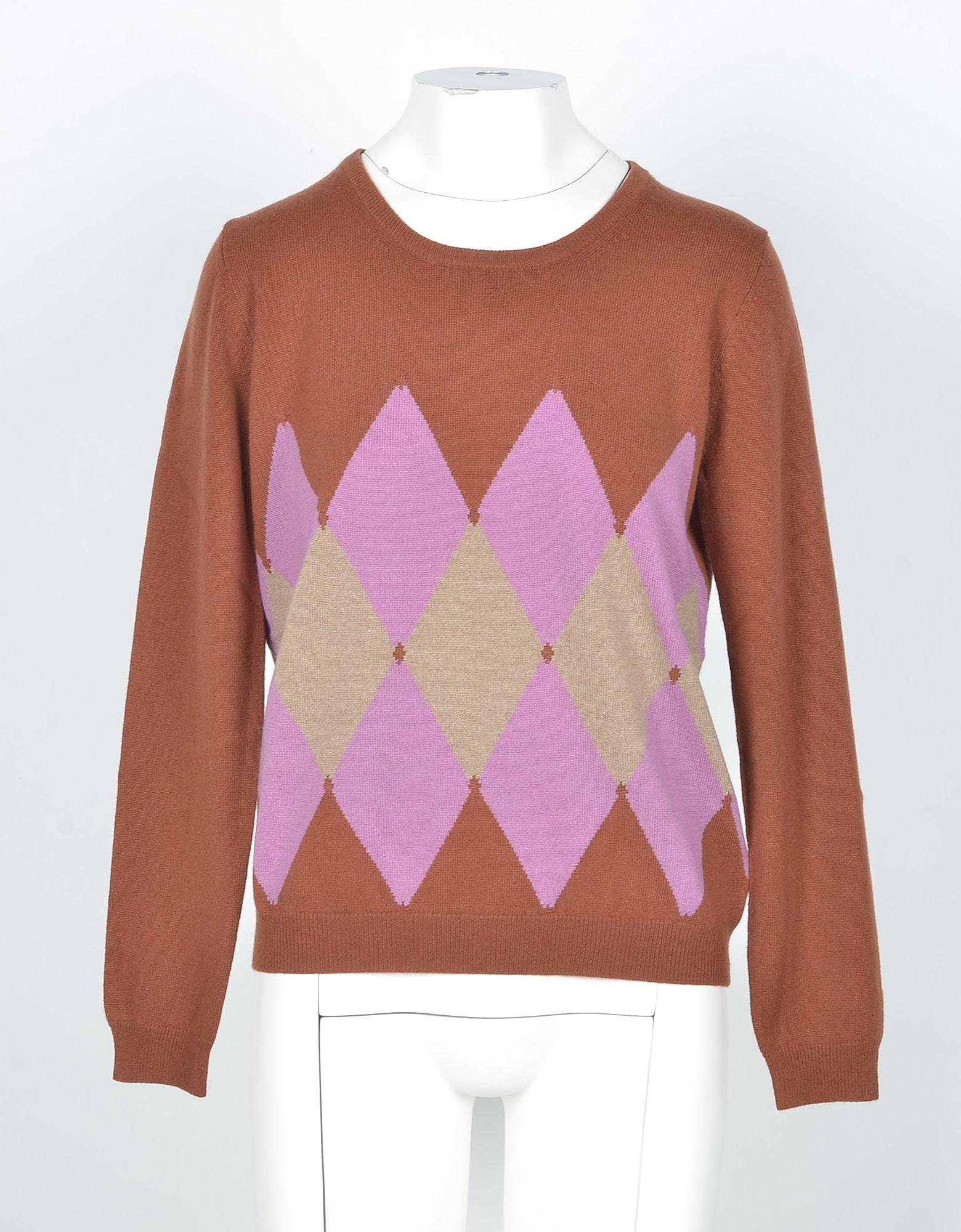 Ballantyne Designer Knitwear, Rust/Beige Cashmere Argyle Women's Sweater