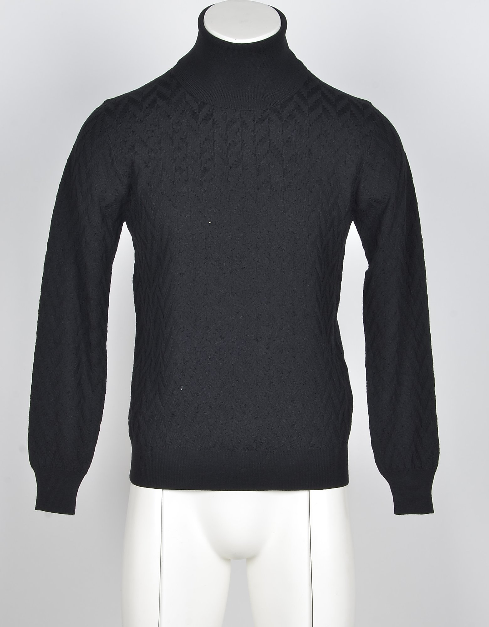 Ballantyne Designer Knitwear, Black Pure Wool Men's Turtleneck Sweater