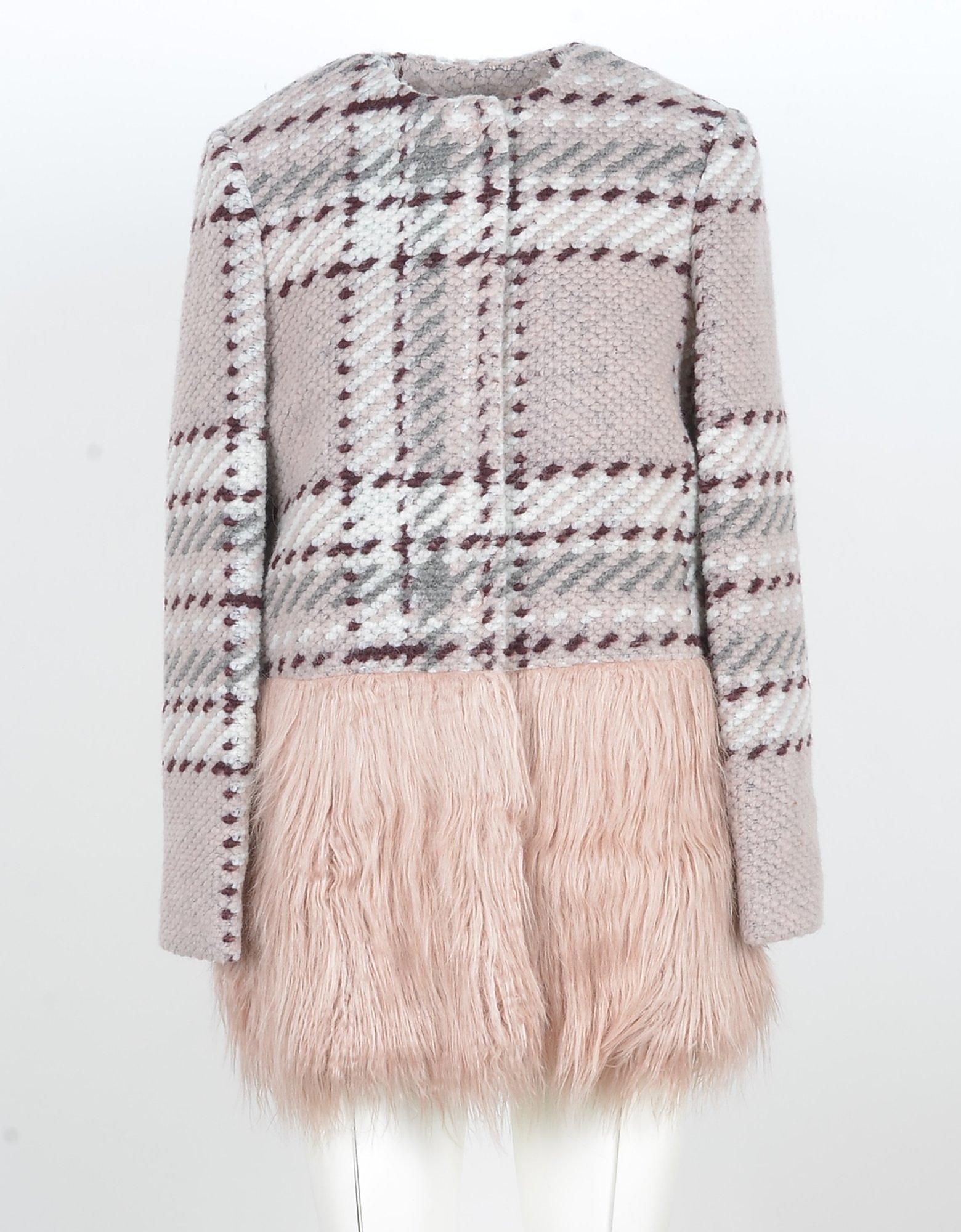 Blugirl Designer Coats & Jackets, Pink Wool Blend Women's Coat