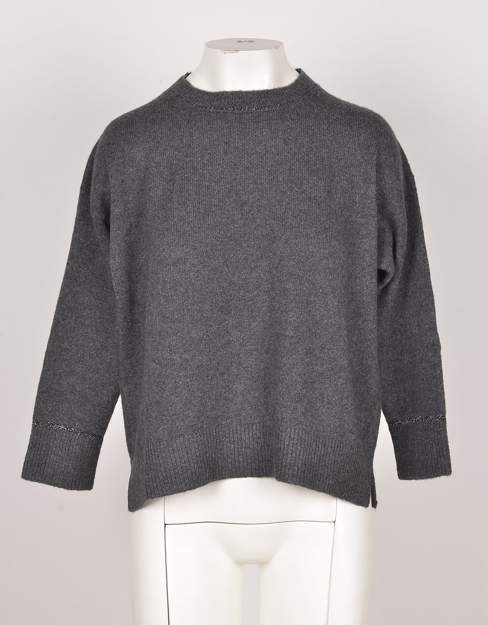 Bruno Manetti Designer Knitwear, Anthracite Wool & Cashmere Blend Women's Sweater