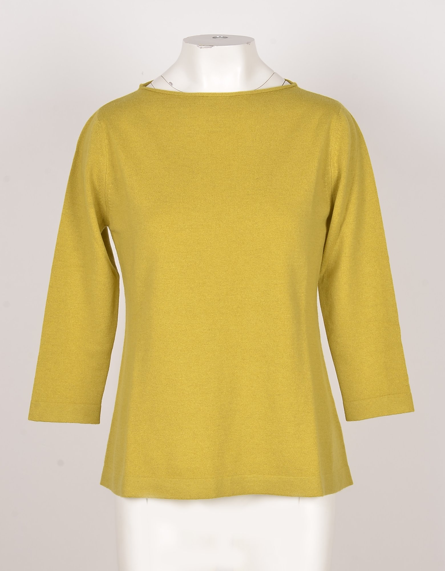 Bruno Manetti Designer Knitwear, Apple Green Wool, Silk and Cashmere Women's Sweater