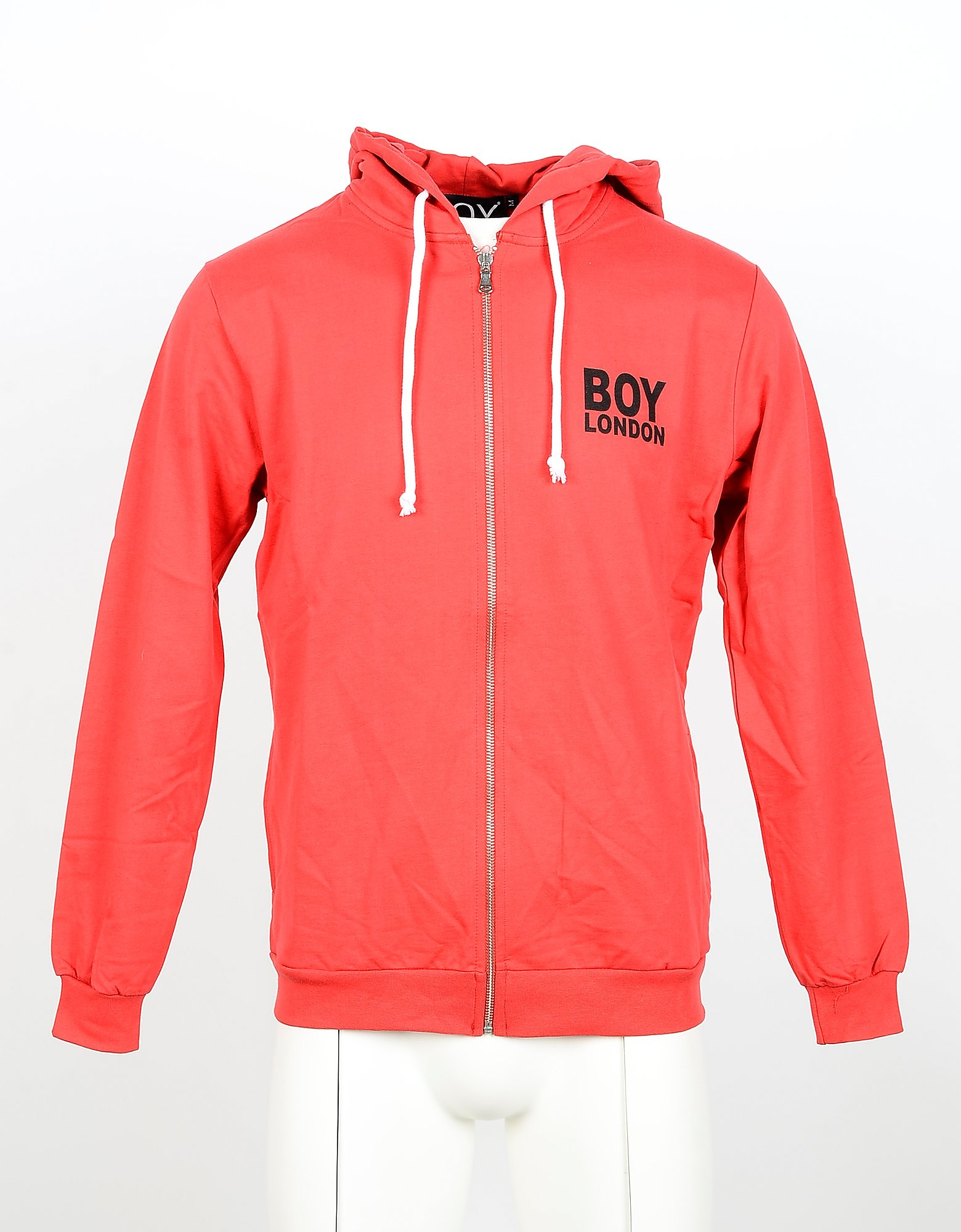 BOY London Designer Sweatshirts, Red Cotton Zip Front Men's Hoodie