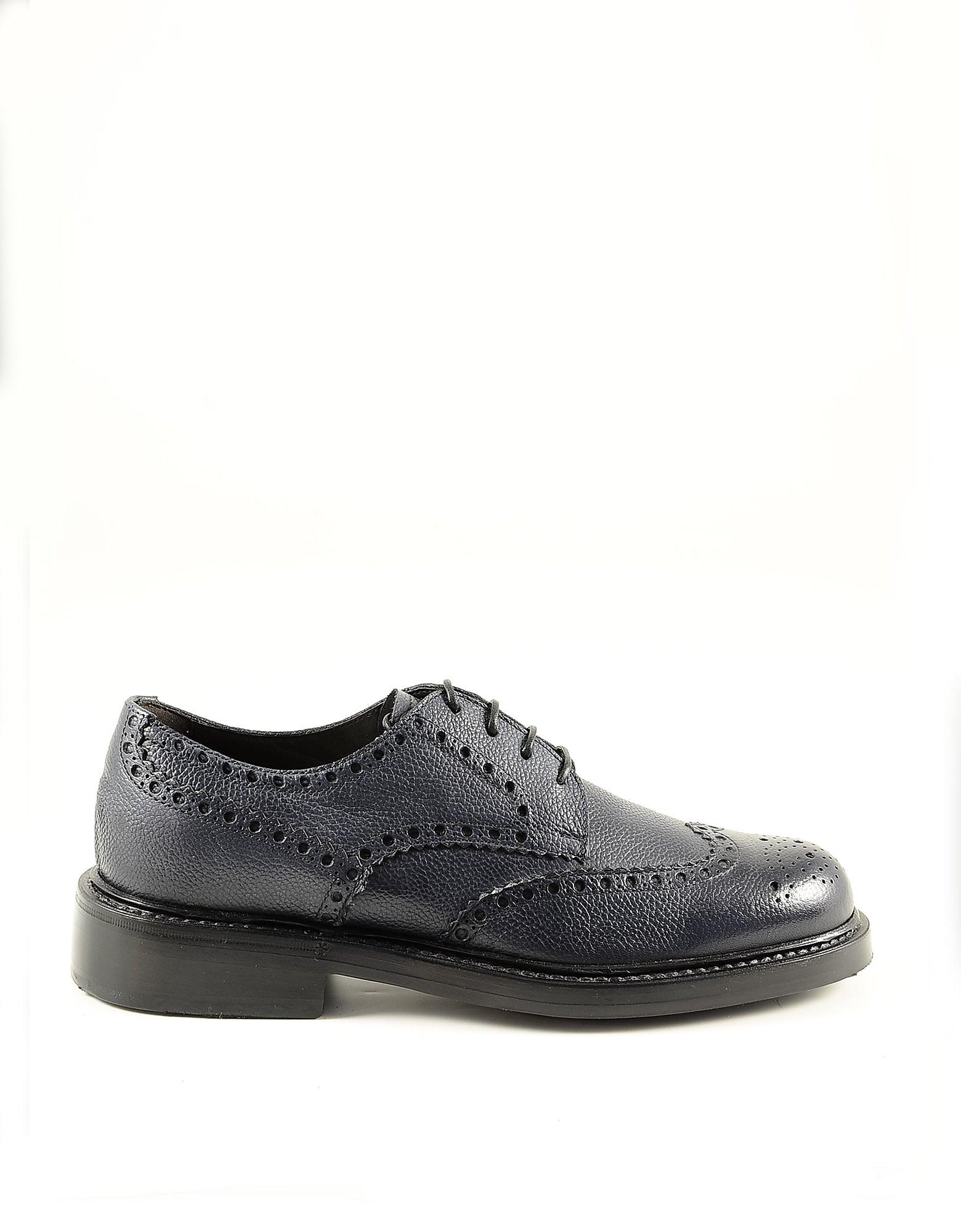 Neil Barrett Designer Shoes, Blue Leather Men's Derby Shoes