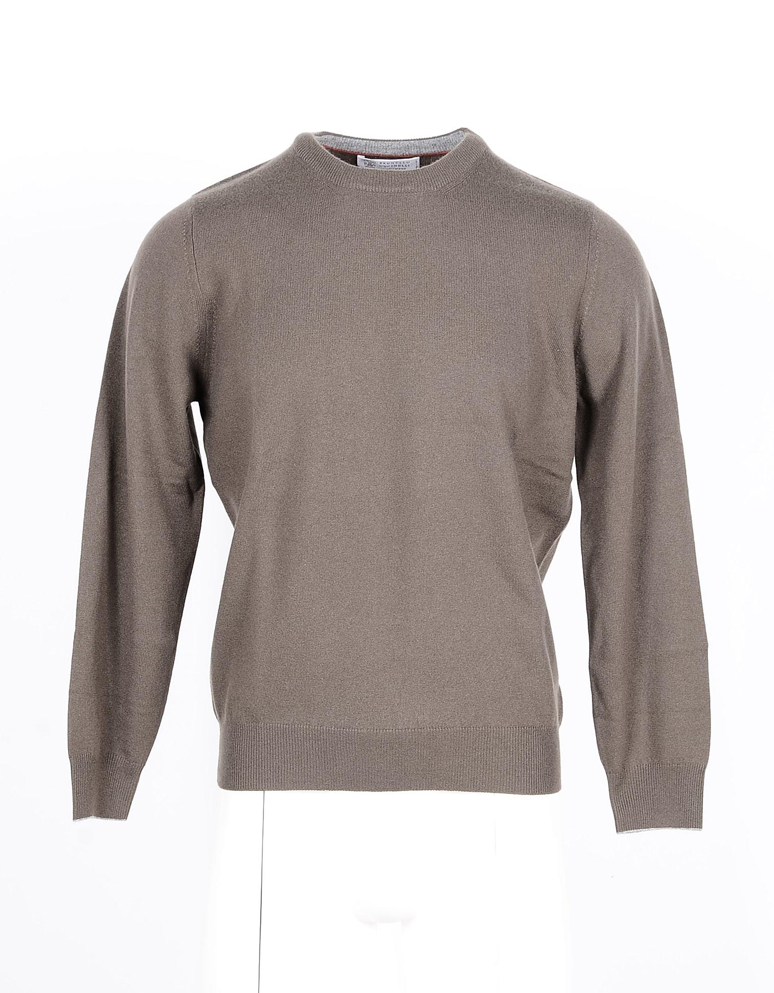 Brunello Cucinelli Designer Knitwear, Taupe Pure Cashmere Men's Sweater