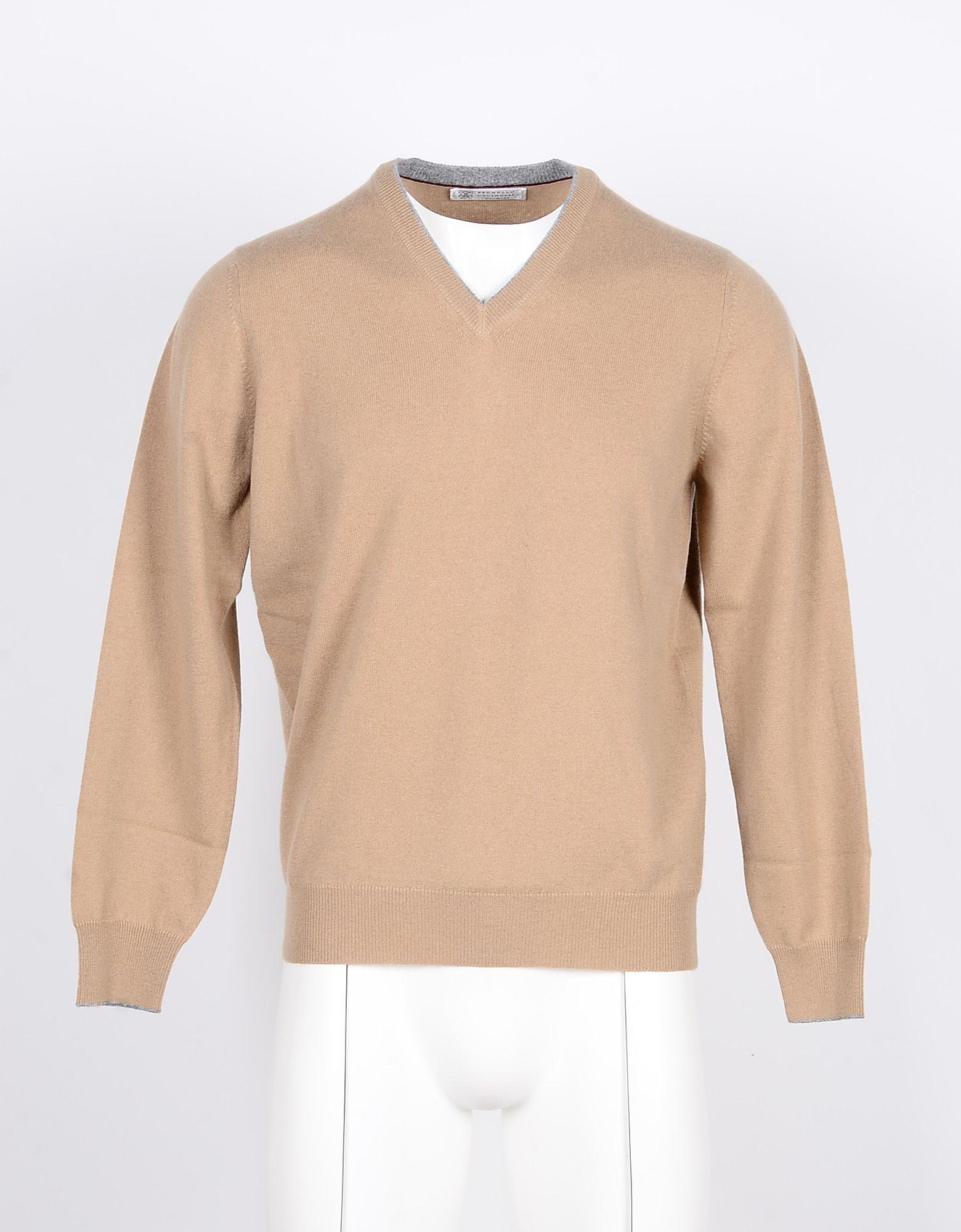 Brunello Cucinelli Designer Knitwear, Beige Pure cashmere Men's V-neck Sweater
