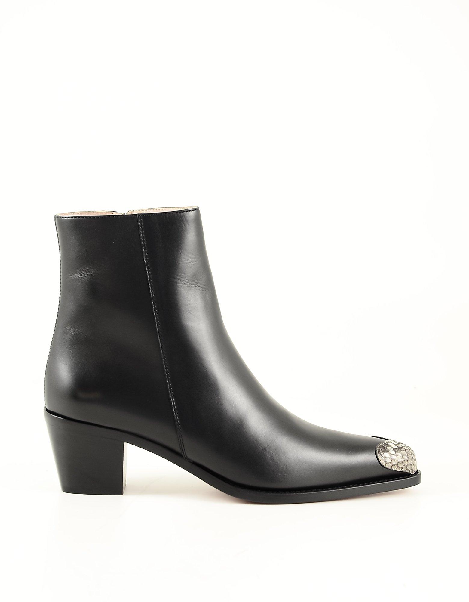 BOYY Designer Shoes, Black Leather Women's Ankle Boots