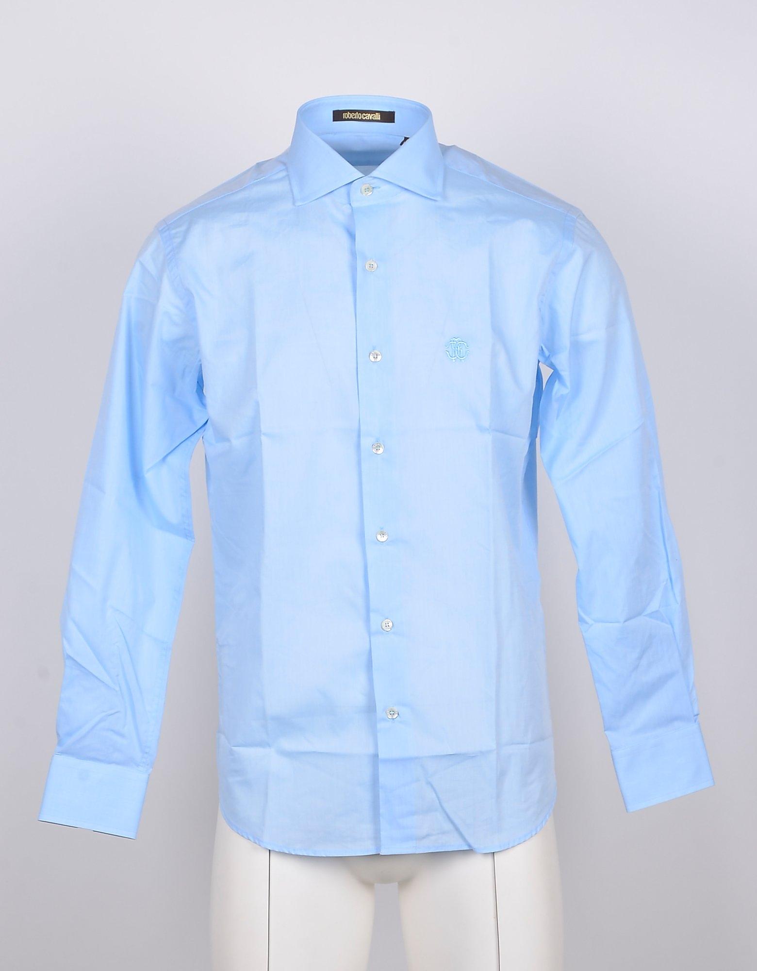 Roberto Cavalli Designer Shirts, Sky Blue COtton Men's Shirt
