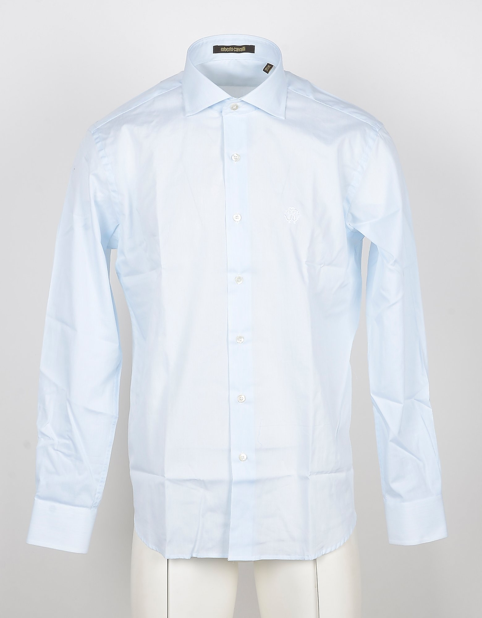 Roberto Cavalli Designer Shirts, Pale Blue Men's Shirts