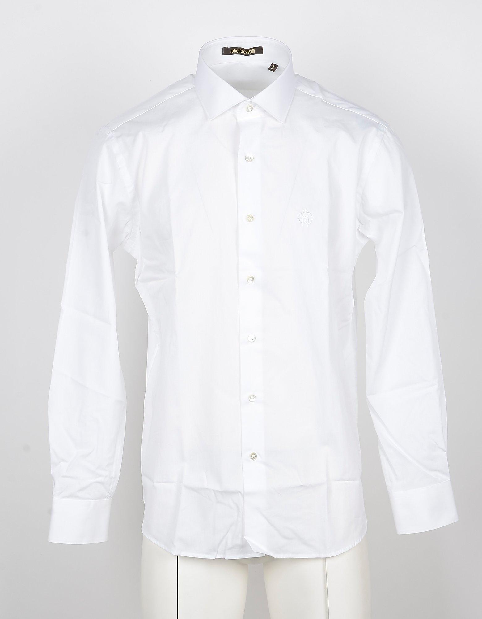 Roberto Cavalli Designer Shirts, Long-Sleeved White Cotton Men's Shirt
