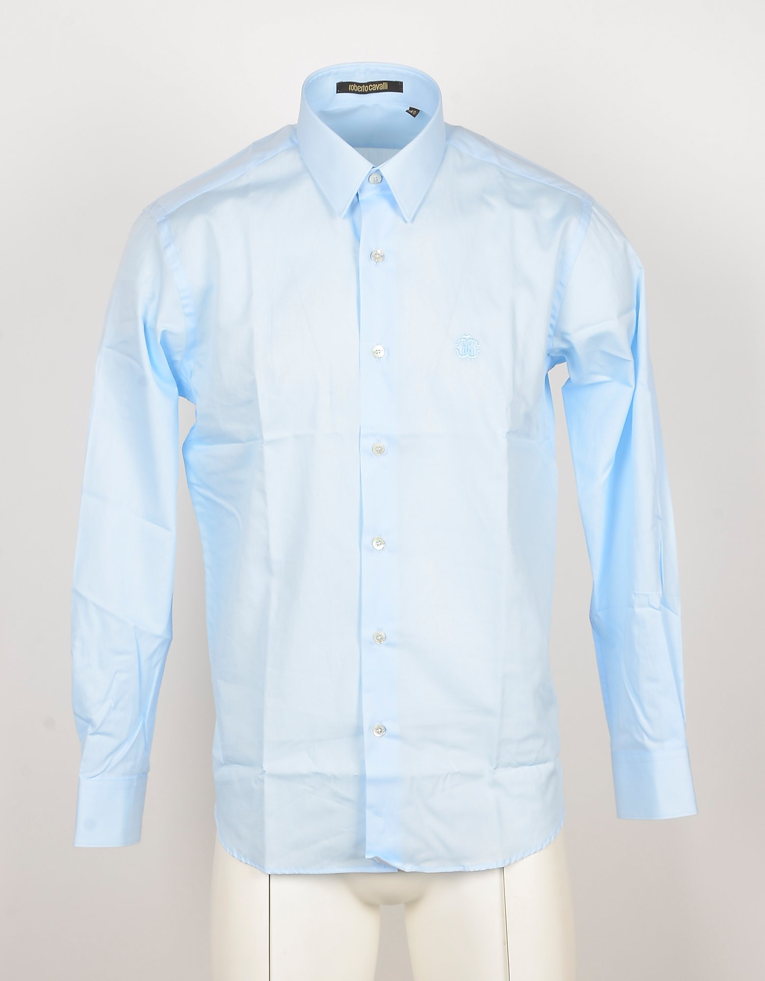 Roberto Cavalli Designer Shirts, Light Blue Cotton Men's Shirt