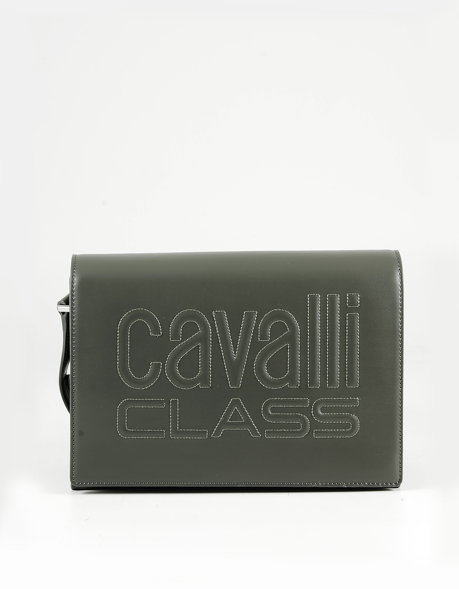 Class Roberto Cavalli Designer Handbags, Militaty Green Eco Leather Flap top Shoulder Bag