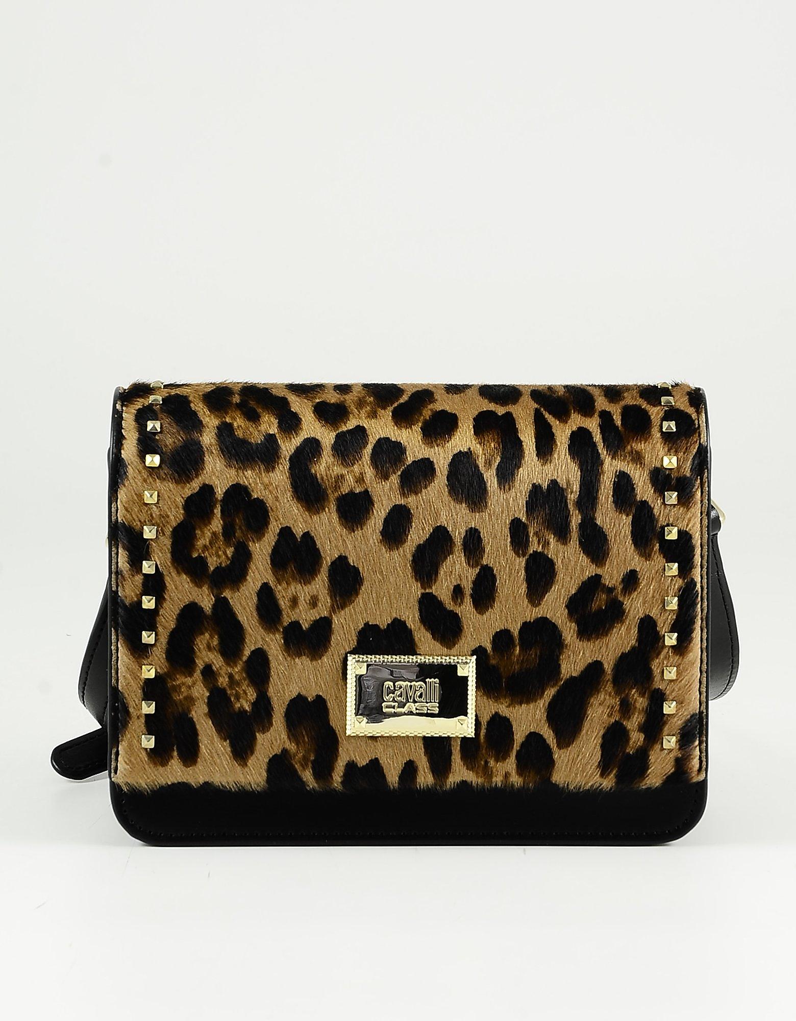 Class Roberto Cavalli Designer Handbags, Animal Print Hair Calf and Black Leather Shoulder Bag
