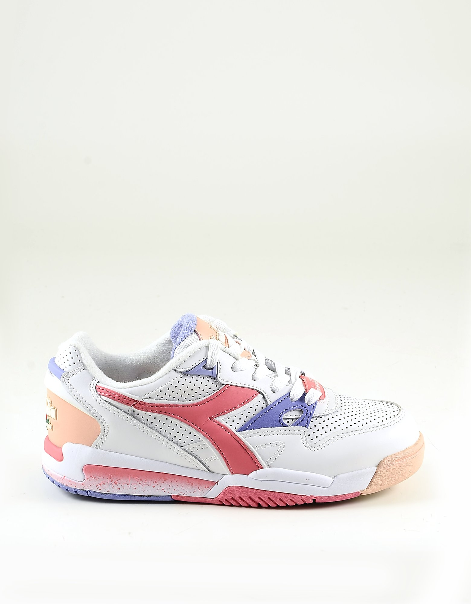 Diadora Designer Shoes, White Mesh and Pink Leather Women's Sneakers