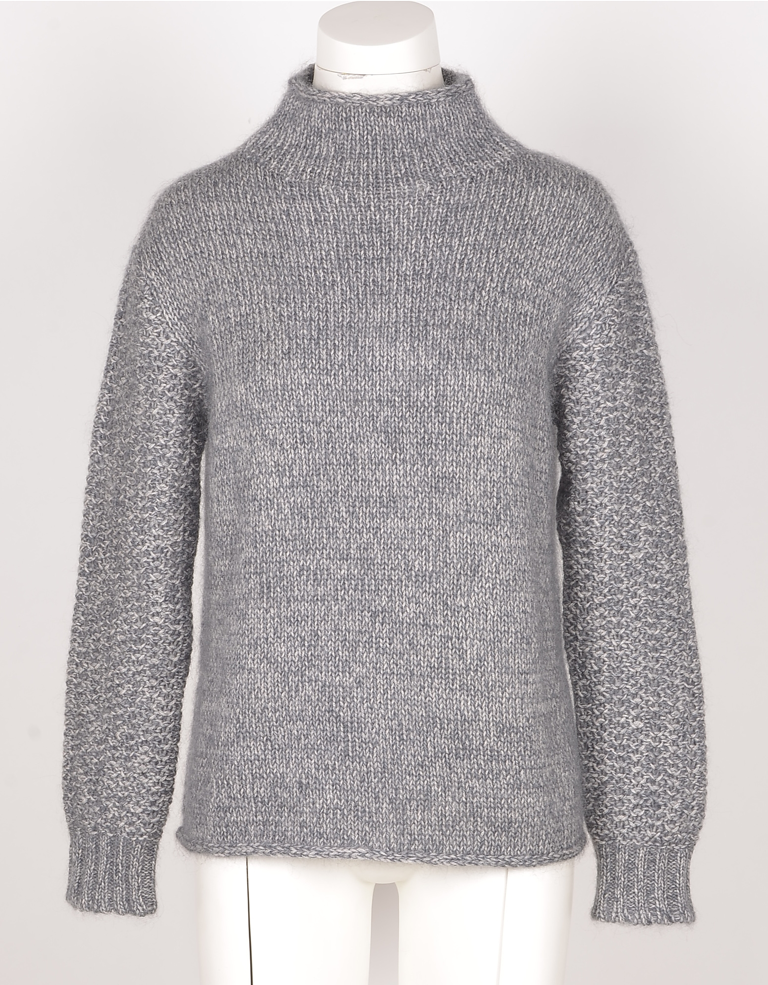 Eleventy Designer Knitwear, Gray Mohair Wool and Silk Women's Sweater