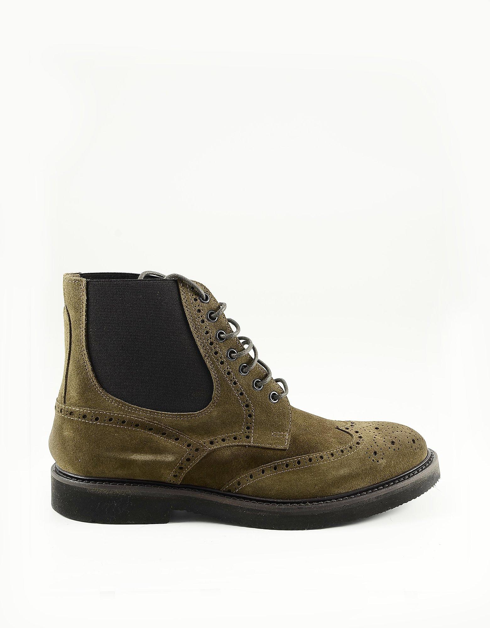 Eleventy Designer Shoes, Brown Suede Men's Derby Boots