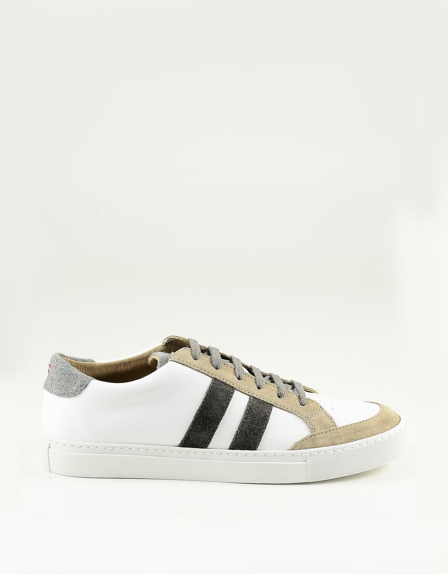 Eleventy Designer Shoes, White / Brown Men's Sneakers