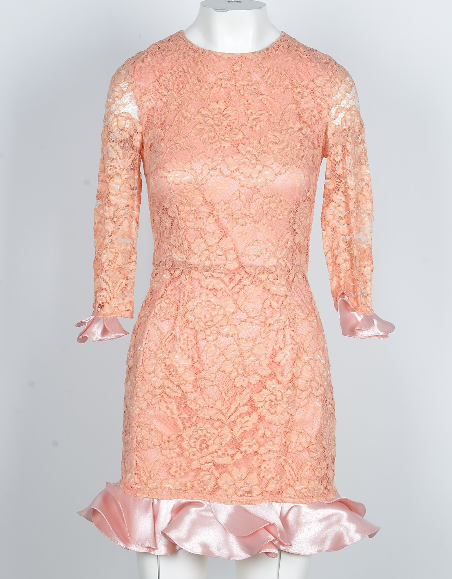 Elisabetta Franchi Designer Dresses & Jumpsuits, Salmon Pink Lace & Ruffles Women's Mini Dress