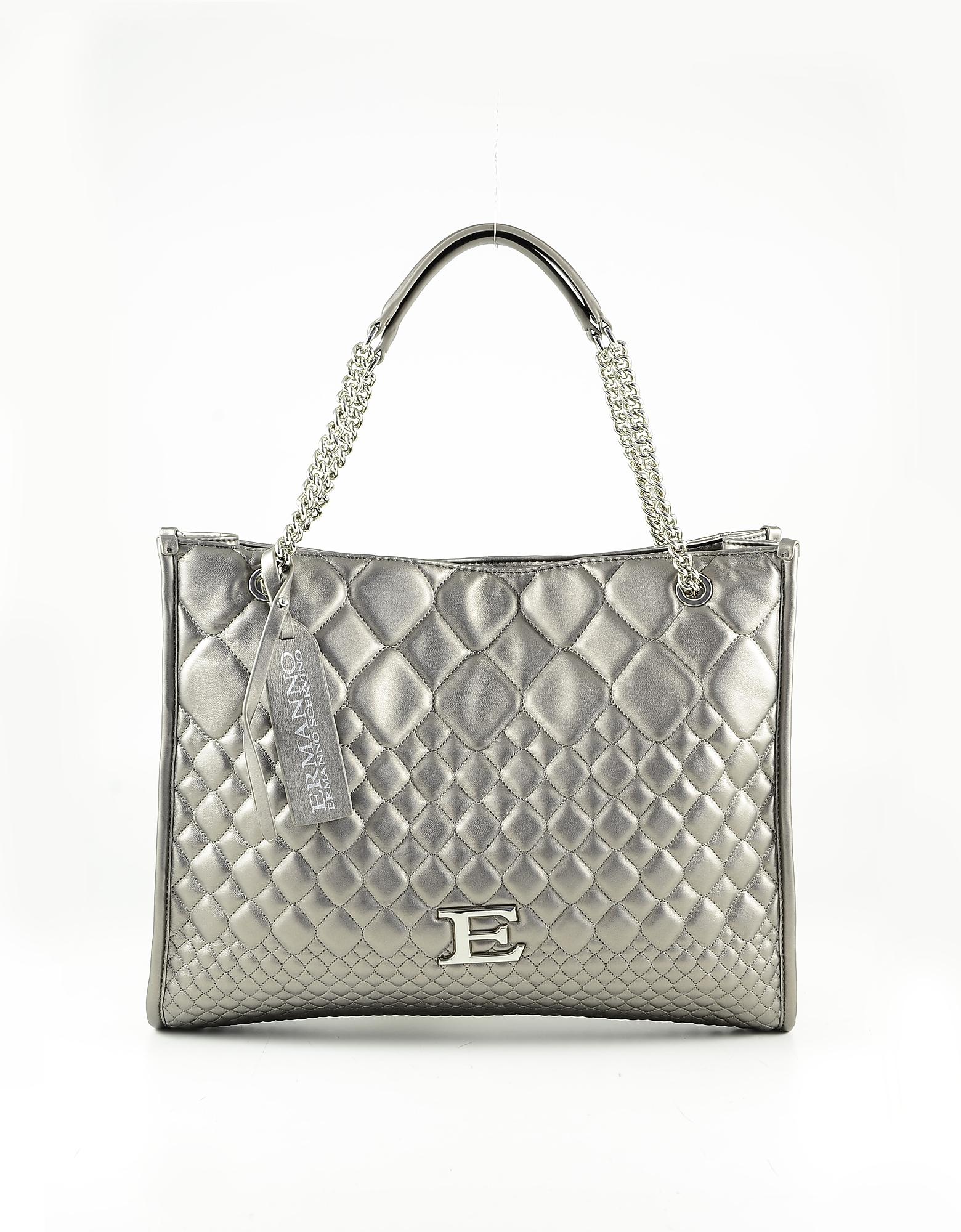 Ermanno Scervino Designer Handbags, Bronze Quilted Eco Leather Tote Bag