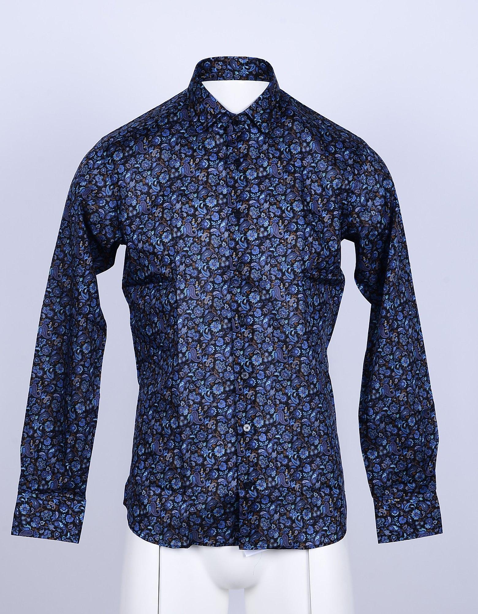 Etro Designer Shirts, Blue Printed Cotton Men's Shirt