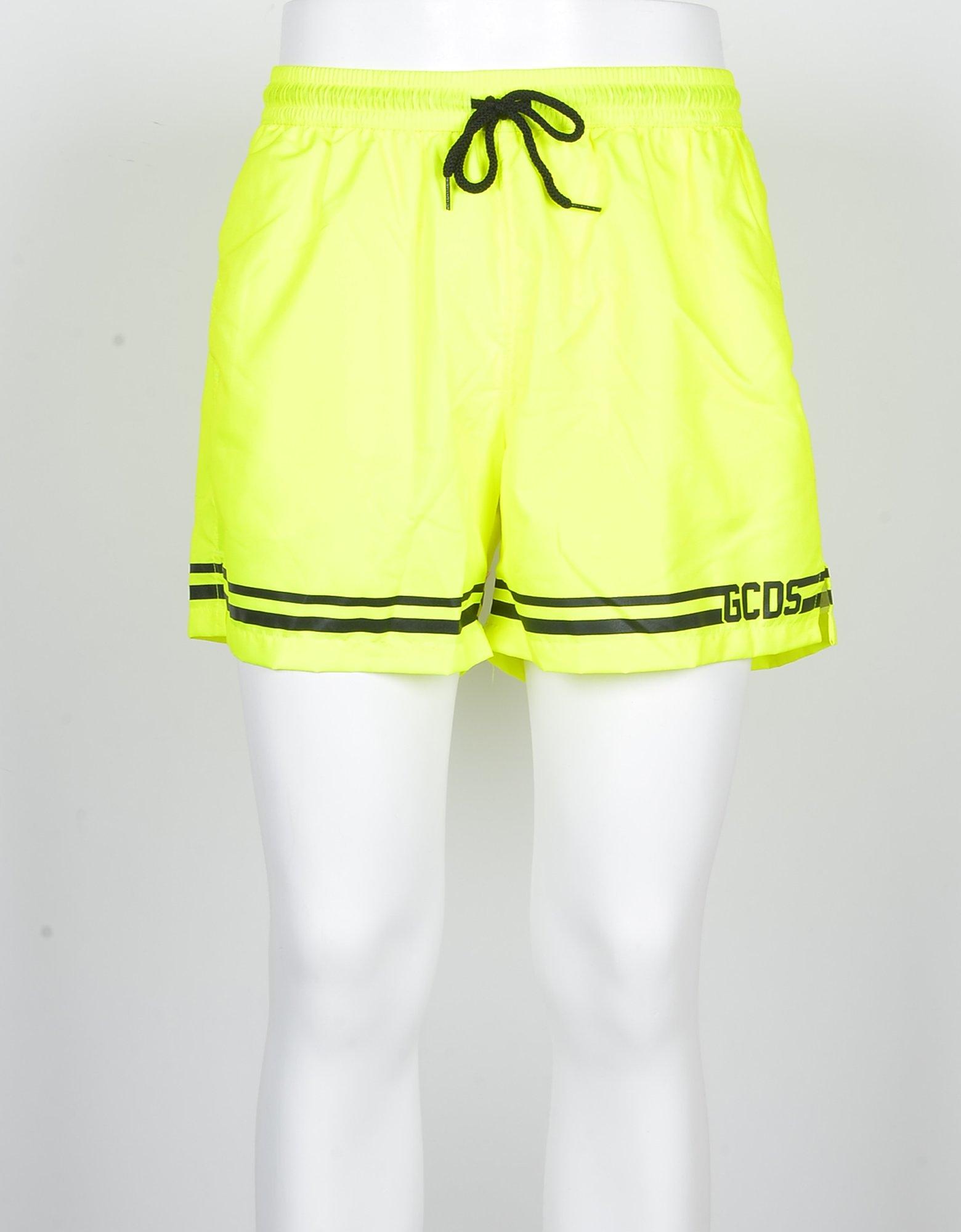 GCDS Designer Swimwear, Men's Neon Yellow Swim Shorts