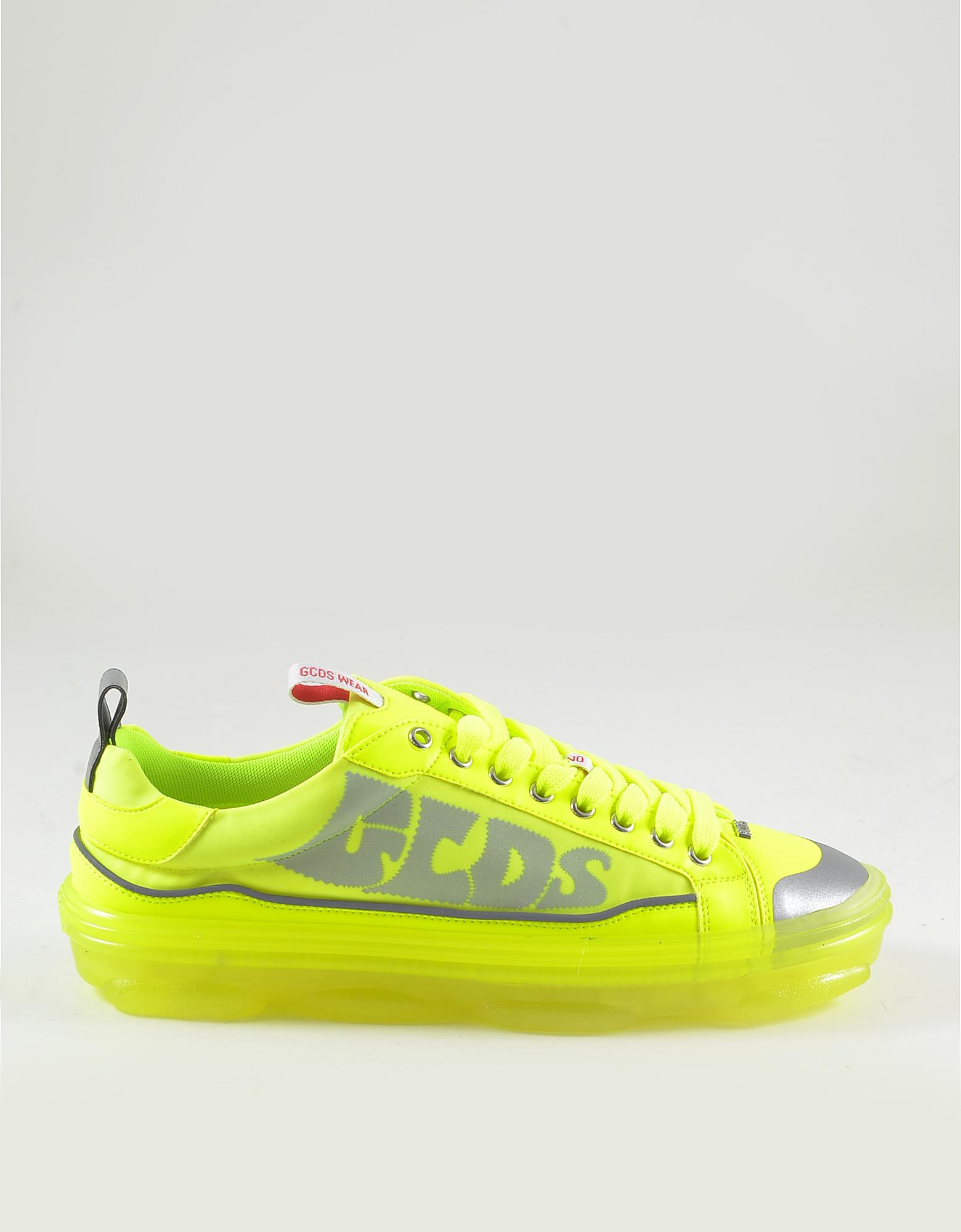 GCDS Designer Shoes, Men's Neon Yellow Sneakers