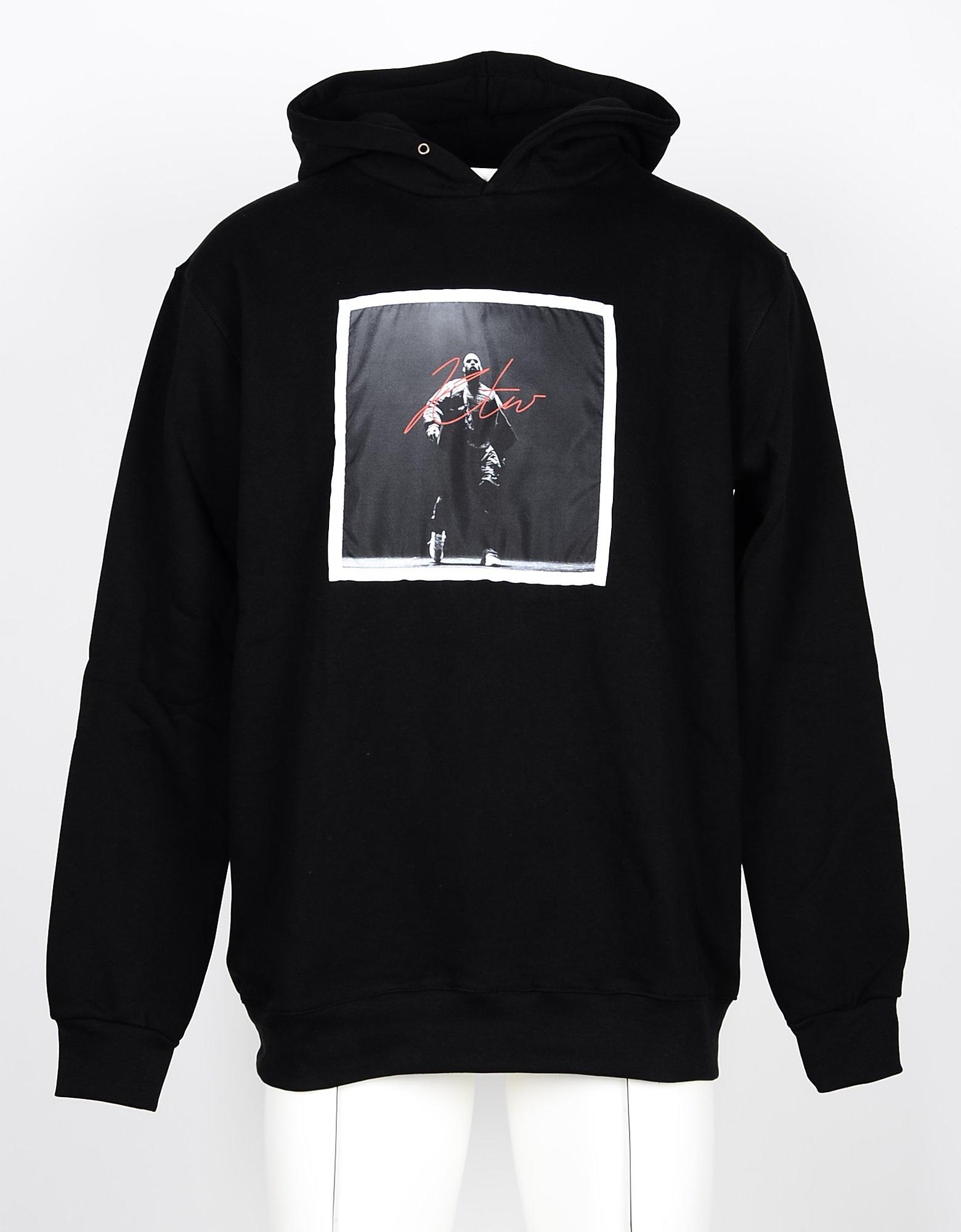 Kissing the War Designer Sweatshirts, Black Cotton Signature Print Men's Hoodie