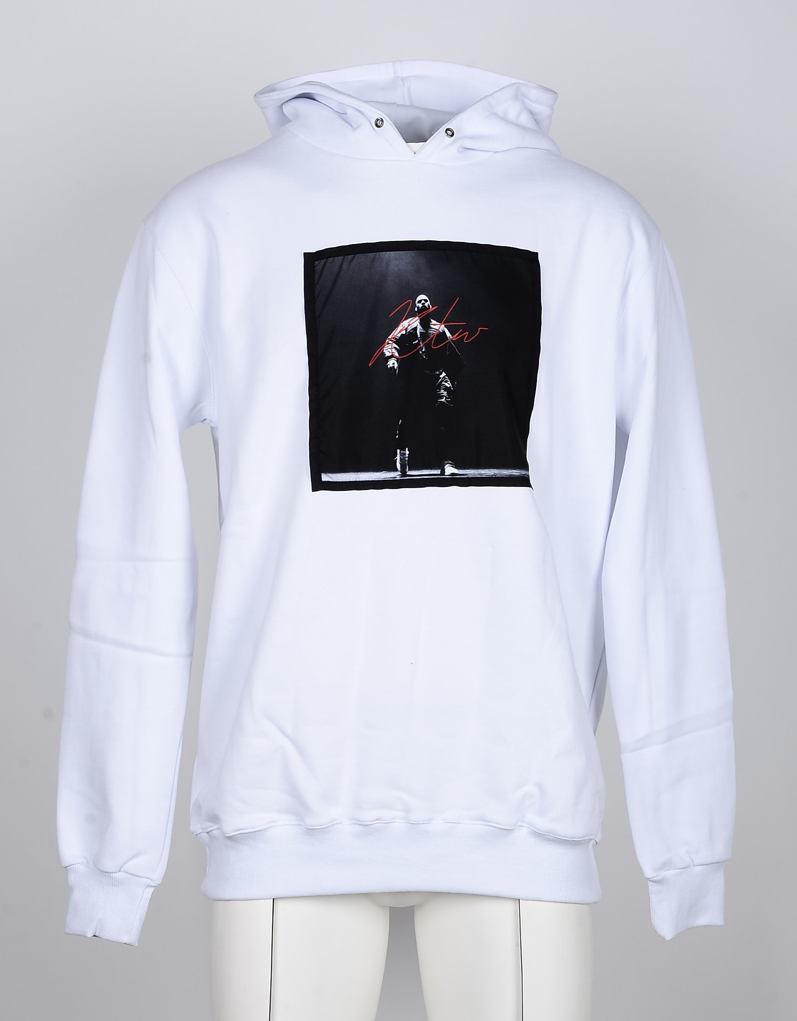 Kissing the War Designer Sweatshirts, White Cotton Signature Print Men's Hoodie