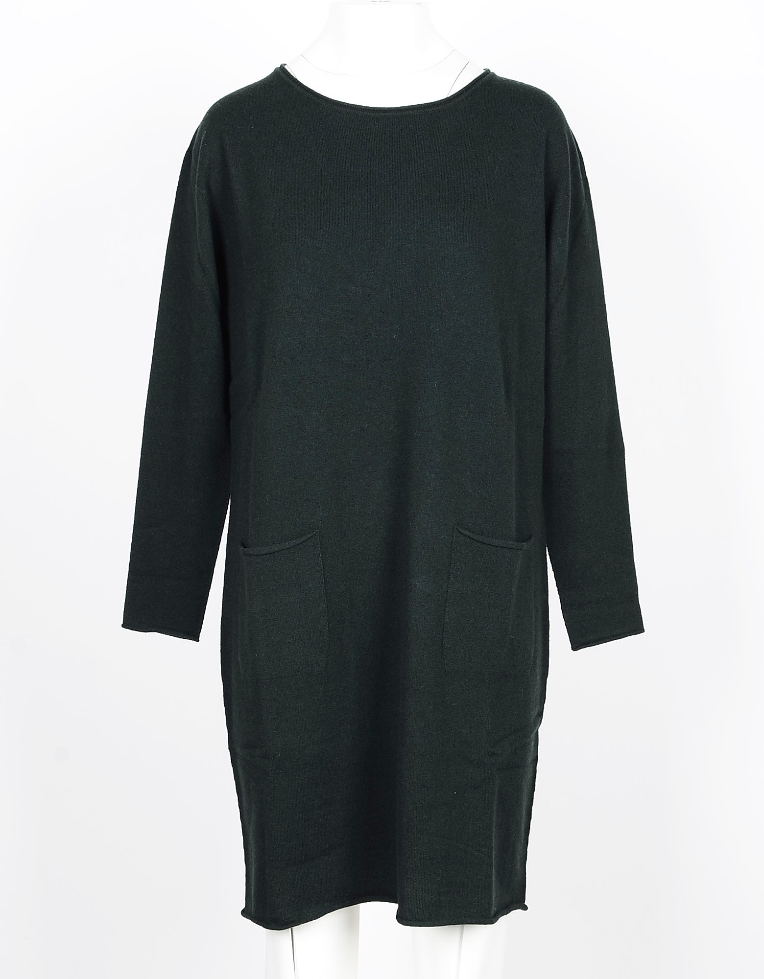 Lamberto Losani Designer Dresses & Jumpsuits, Green Wool, Silk and Cashmere Blend Women's Dress