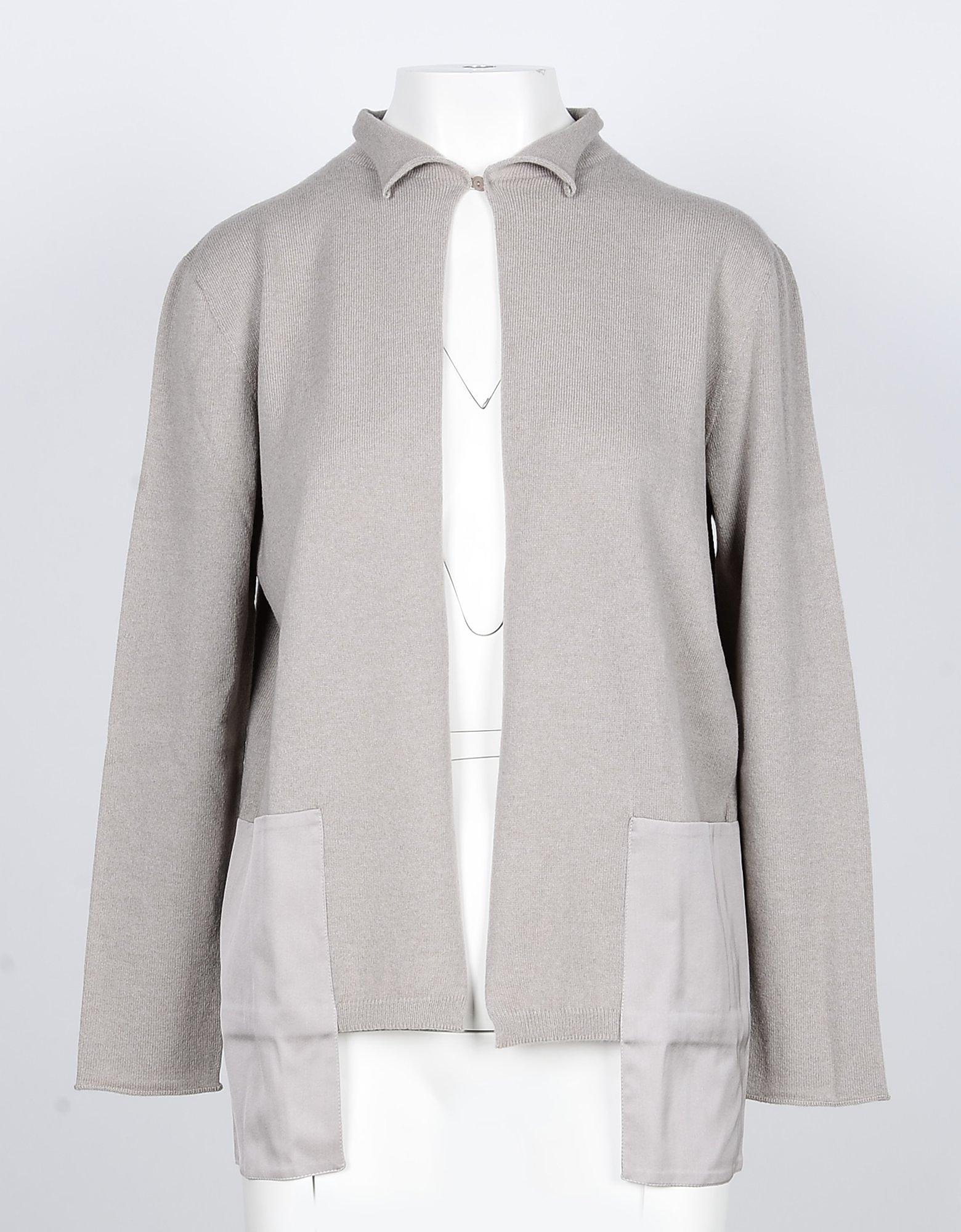 Lamberto Losani Designer Knitwear, Beige Wool, Silk and Cashmere Women's Cardigan Sweater