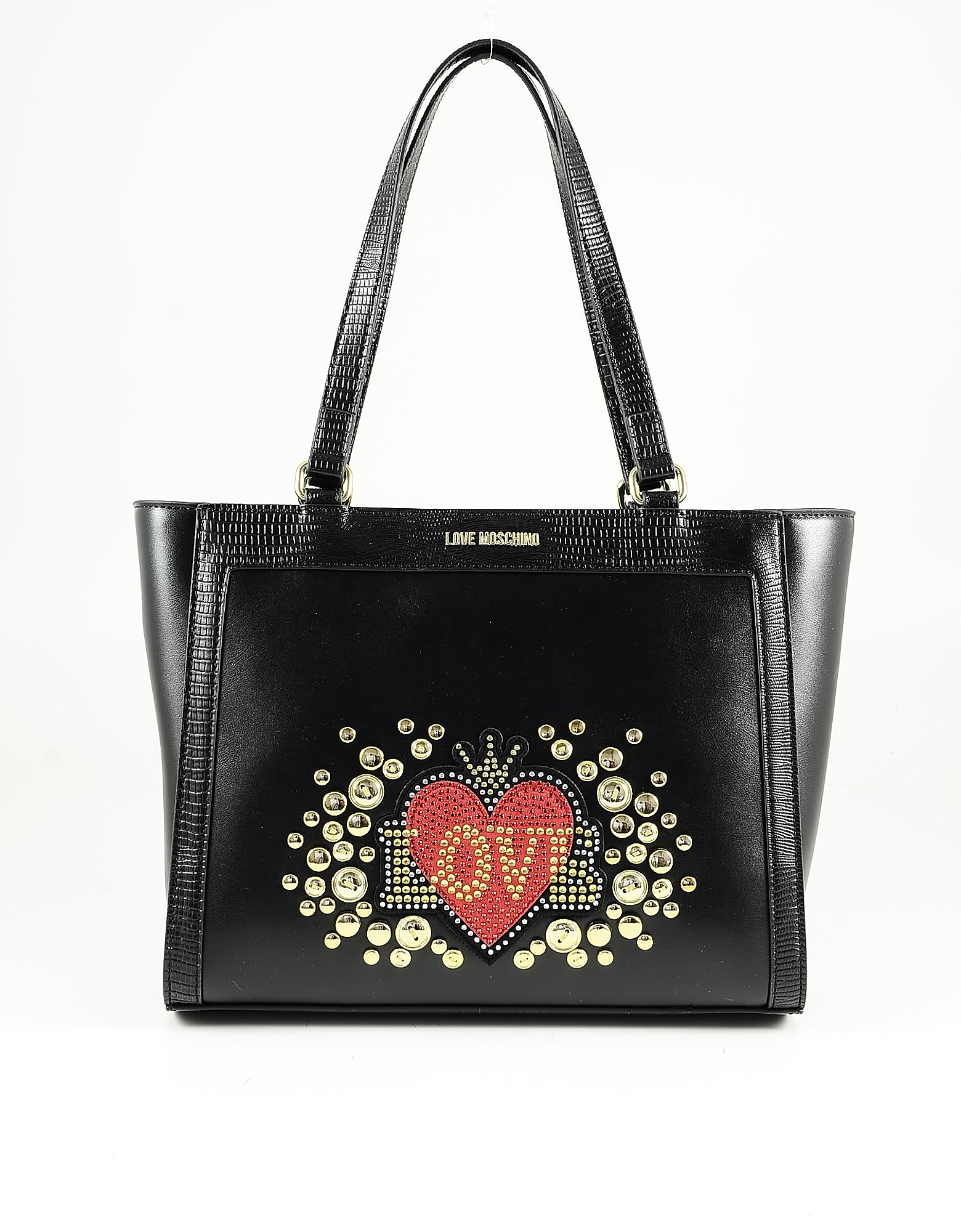 Love Moschino Designer Handbags, Black Eco-leather Love and Studs Tote Bag