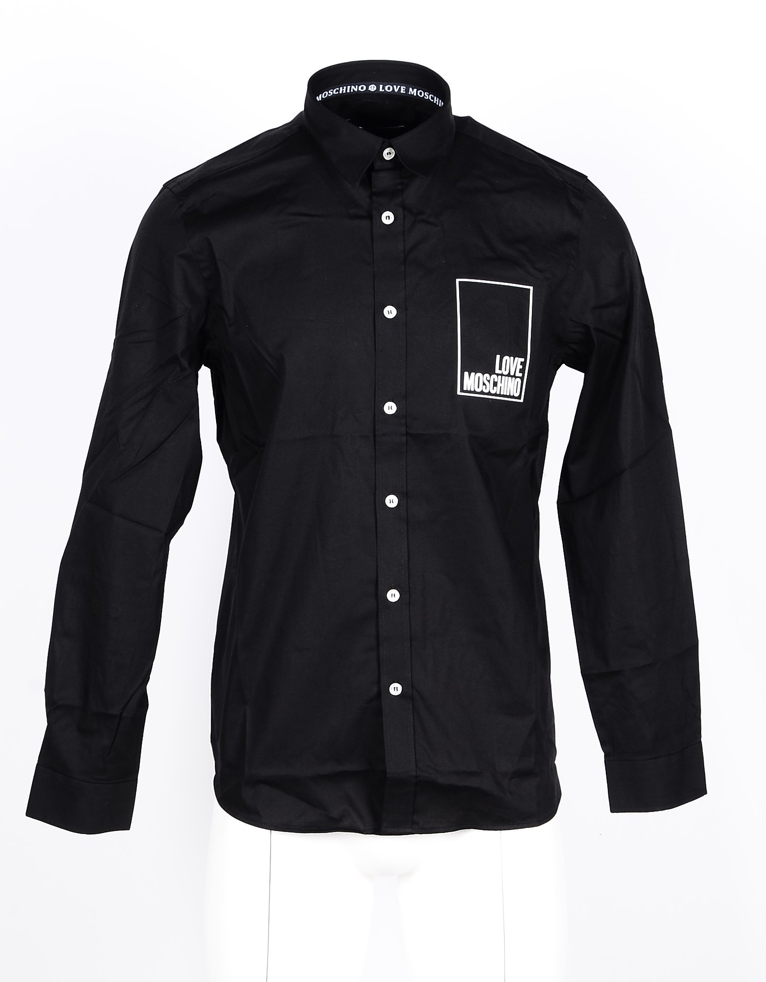 Love Moschino Designer Shirts, Black Cotton Men's Shirt