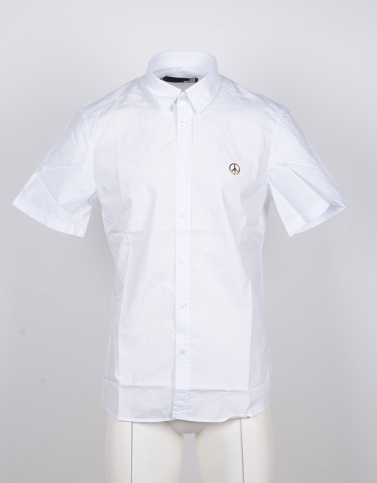 Love Moschino Designer Shirts, Short-Sleeved White Cotton Men's Shirt