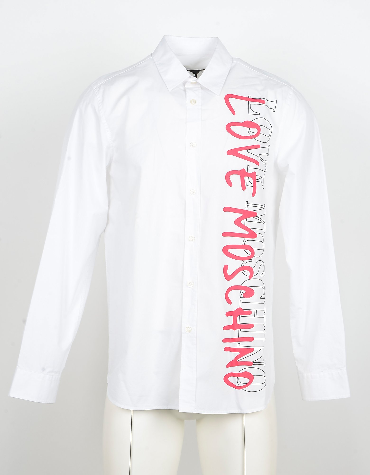 Love Moschino Designer Shirts, Signature Print White Cotton Men's Shirt w/Long Sleeve