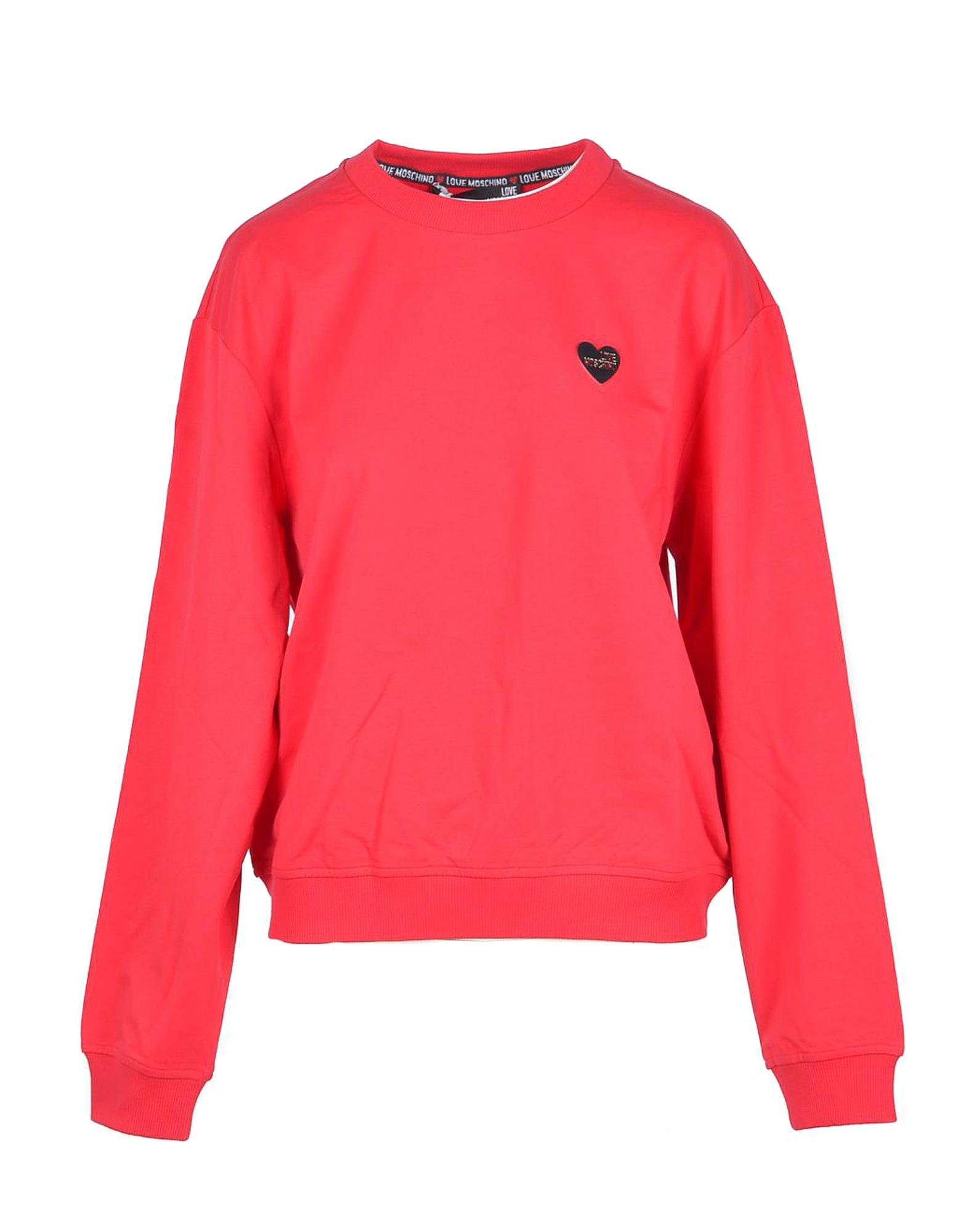 Love Moschino Designer Sweatshirts, Women's Red Sweatshirt