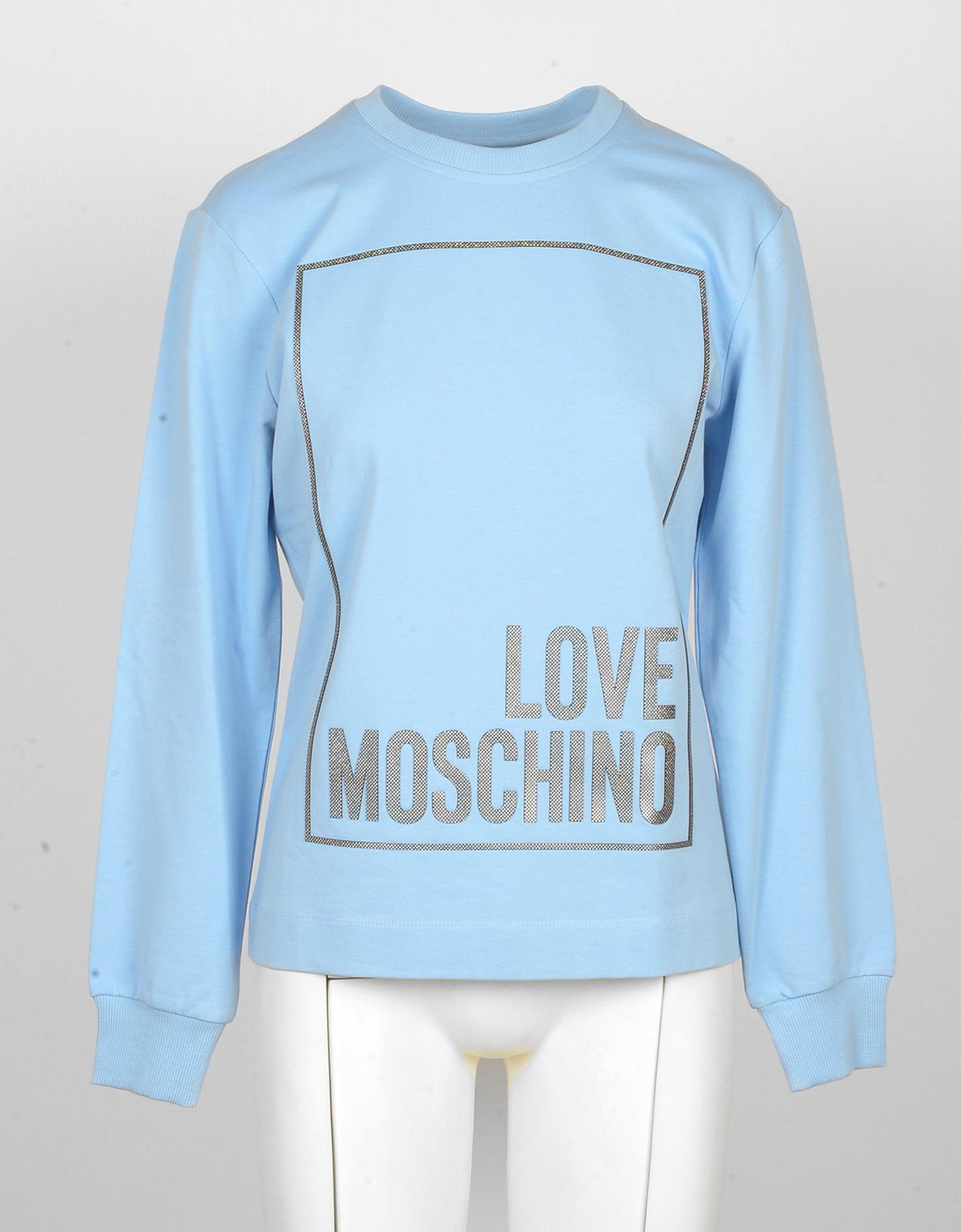 Love Moschino Designer Sweatshirts, Women's Sky Blue Sweatshirt