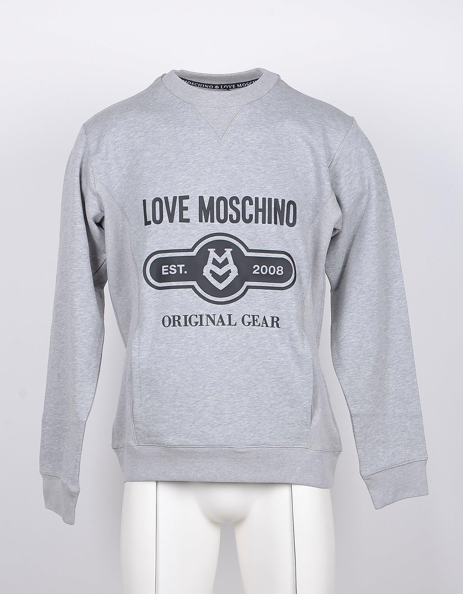 Love Moschino Designer Sweatshirts, Signature Print Melange Gray Cotton Sweatshirt