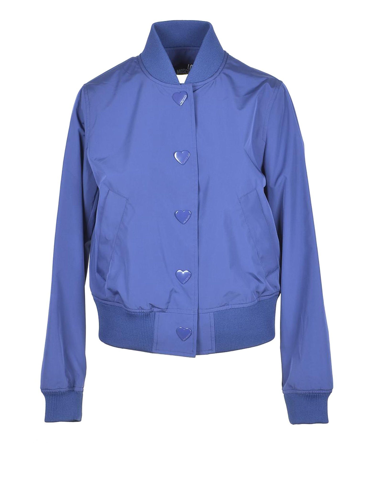 Love Moschino Designer Coats & Jackets, Women's Blue Bomber Jacket