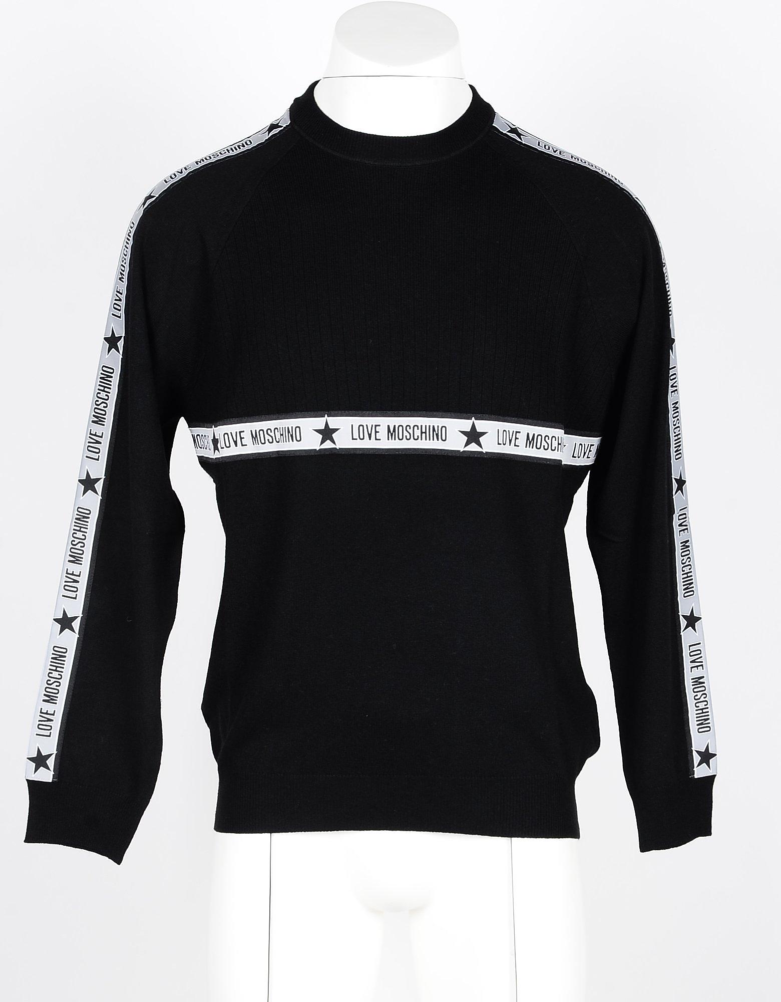 Love Moschino Designer Knitwear, Black Viscose, Wool and Cashmere Blend Men's Sweater