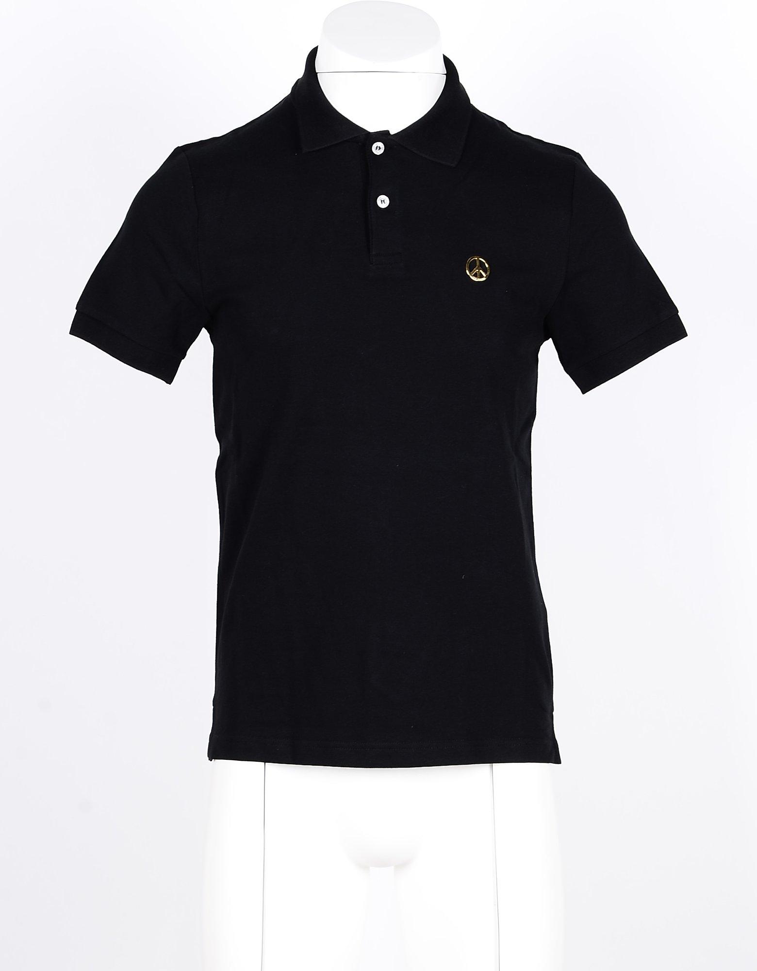 Love Moschino Designer Polo Shirts, Black Cotton Men's Polo Shirt'