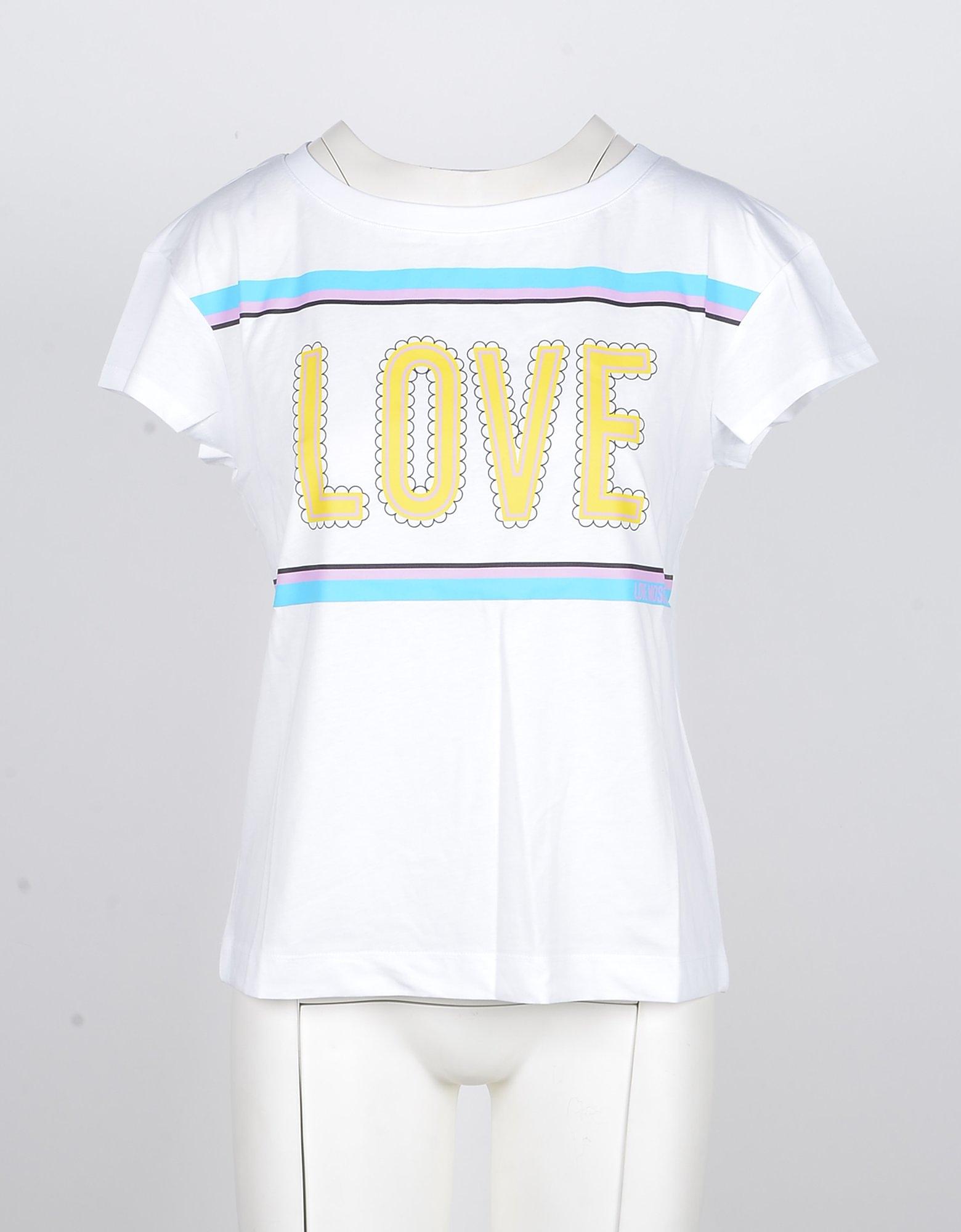 Love Moschino Designer T-Shirts & Tops, Women's White Tshirt