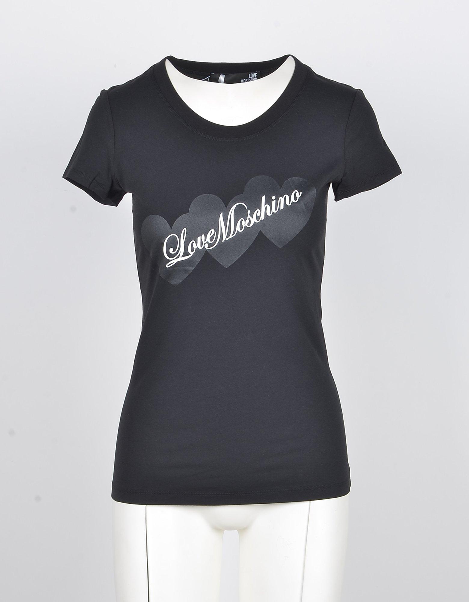 Love Moschino Designer T-Shirts & Tops, Women's Black Tshirt