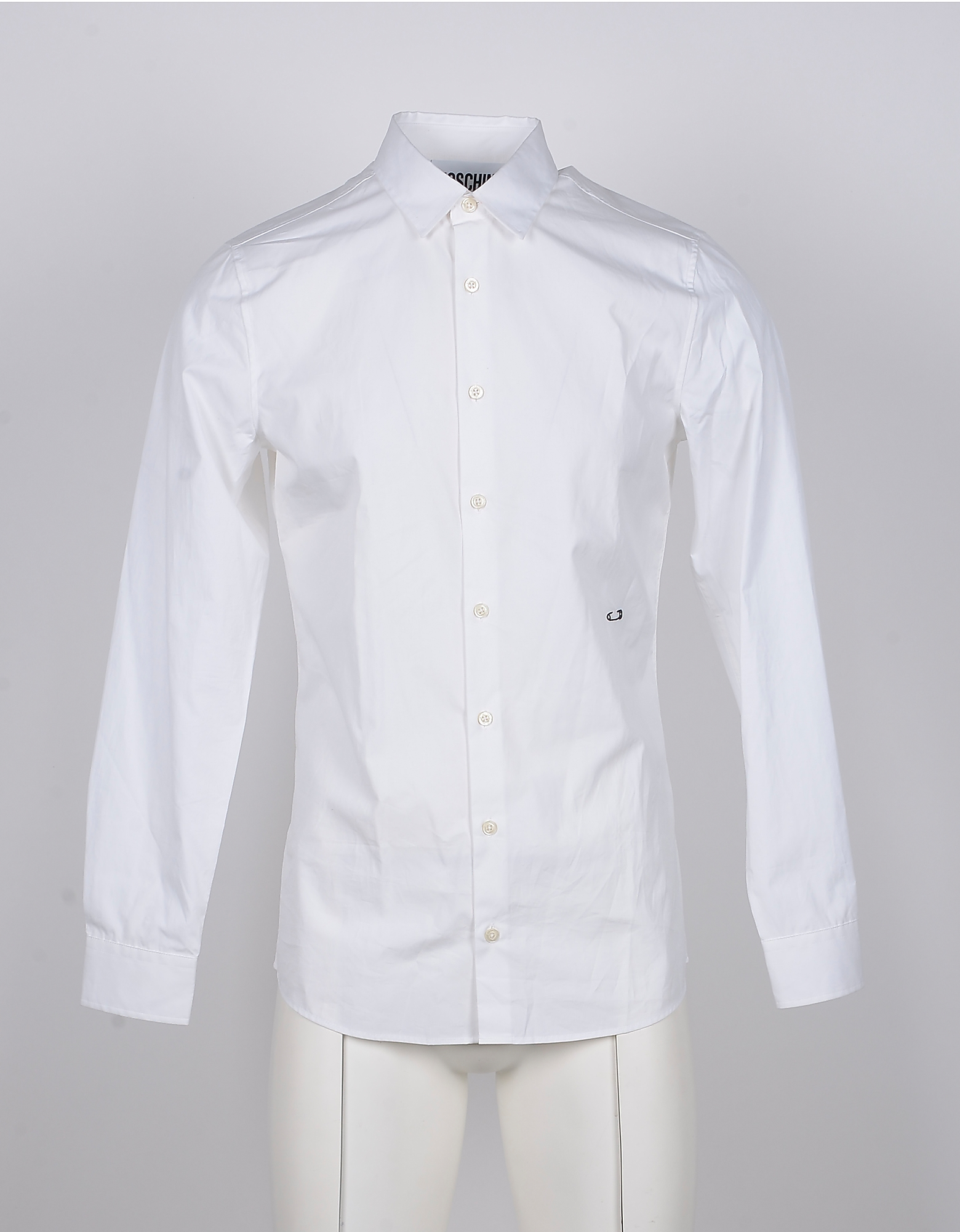 Moschino Designer Shirts, Safety Pin Embroidered White Cotton Men's Dress Shirt